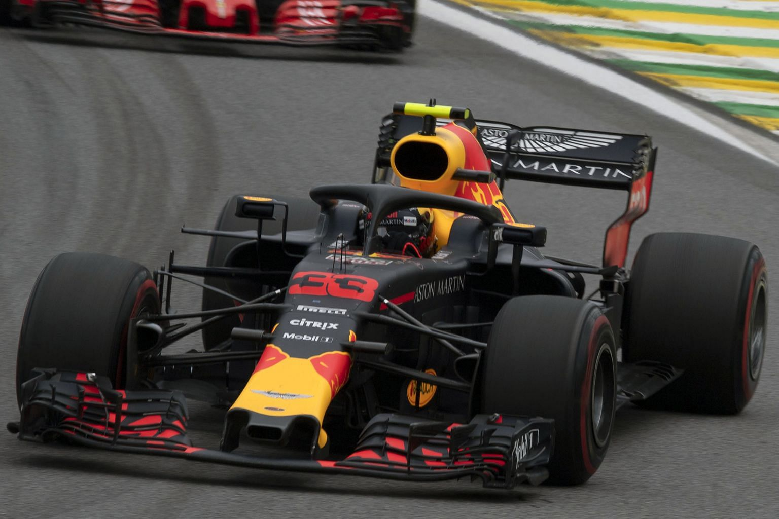 Red Bull's Max Verstappen confronted Esteban Ocon after a collision robbed him of victory at the Brazilian Grand Prix.