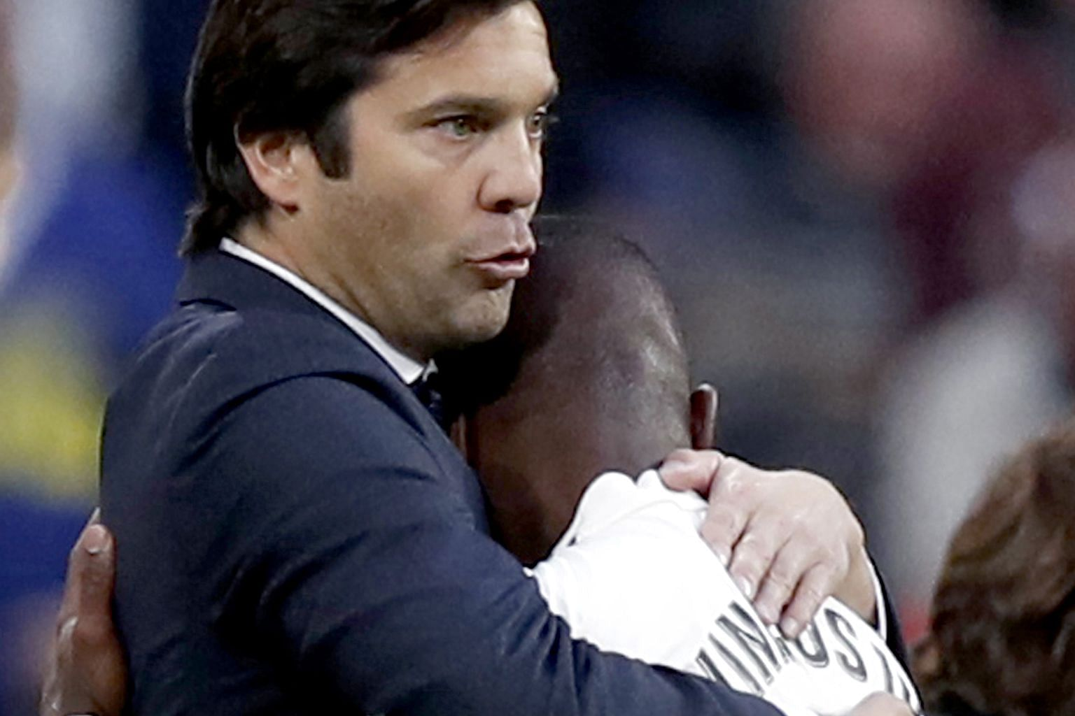 Santiago Solari, embracing Vinicius, has overseen four victories in four games for Real since taking over from Julen Lopetegui two weeks ago. It is the best start of any manager in the club's history.