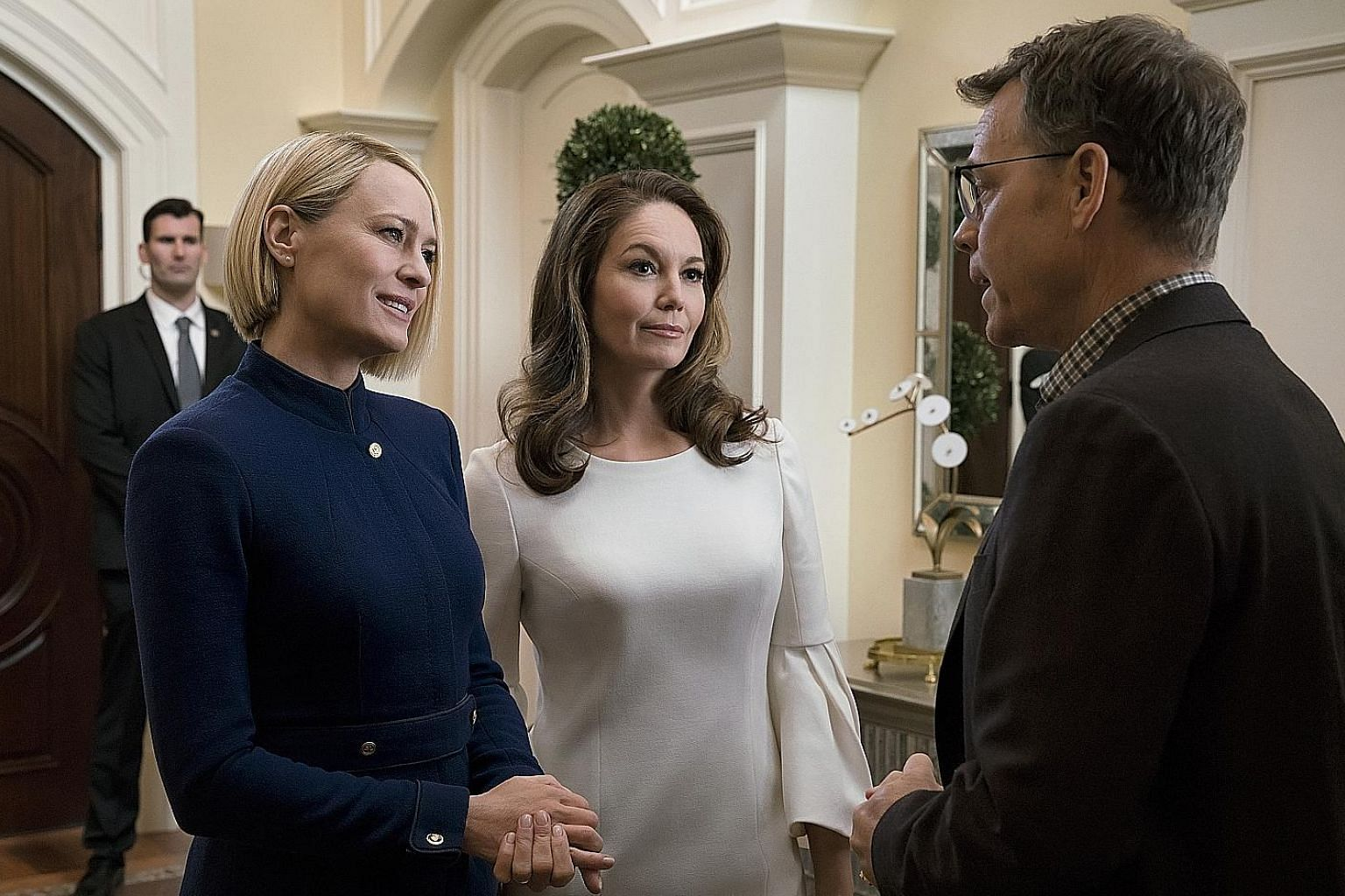 (From far left) Robin Wright, Diane Lane and Greg Kinnear in House Of Cards. (Above) Patricia Arquette in Escape At Dannemora.