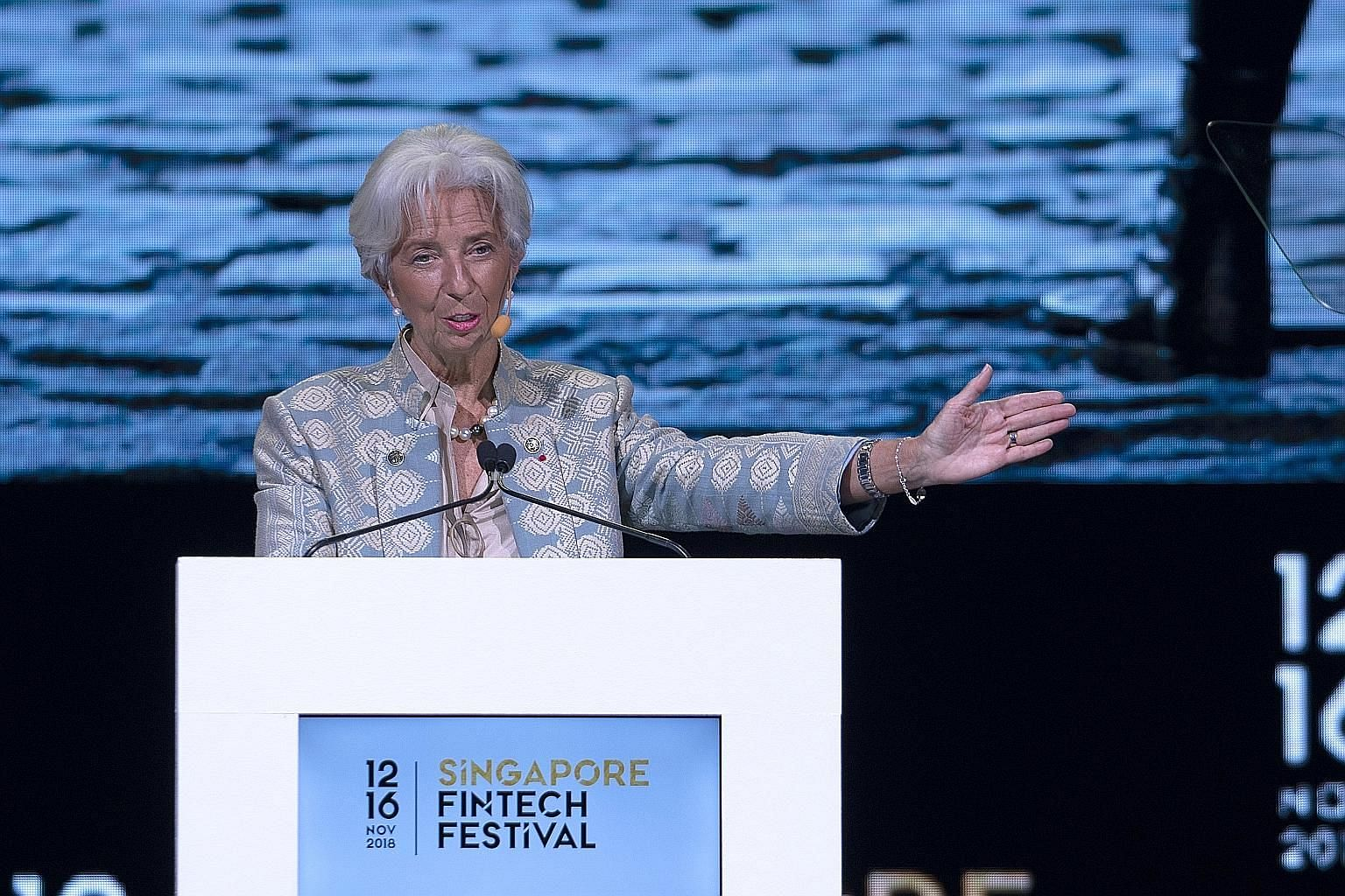 IMF managing director Christine Lagarde, speaking at the Singapore Fintech Festival yesterday, said central banks do not have to design digital currencies on their own, but can work with private firms to come up with solutions that allow financial in