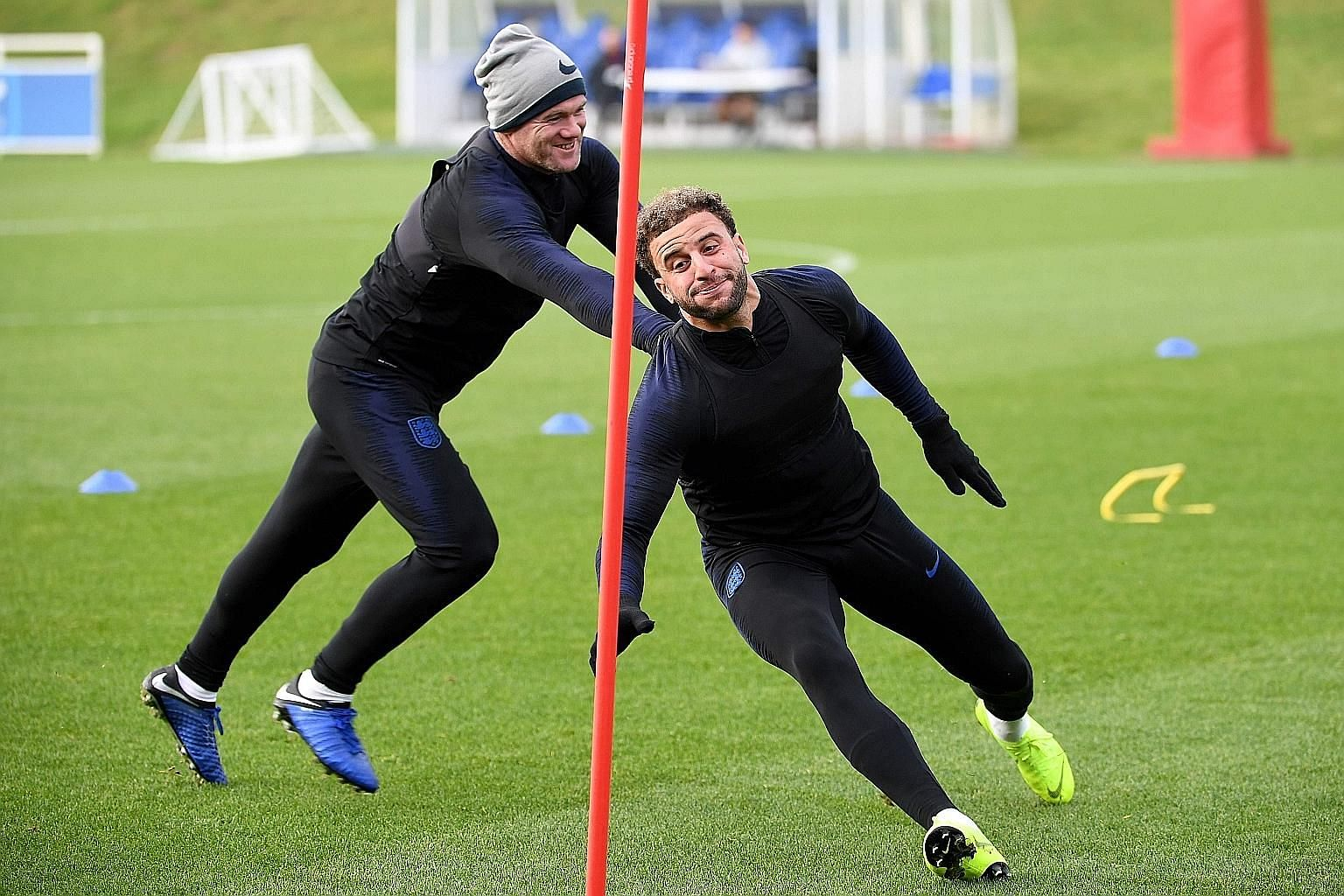Wayne Rooney having fun with Kyle Walker during an England training session at St George's Park in Burton-on-Trent on Wednesday, ahead of their international friendly against the US in which Rooney is set to make a cameo final appearance.