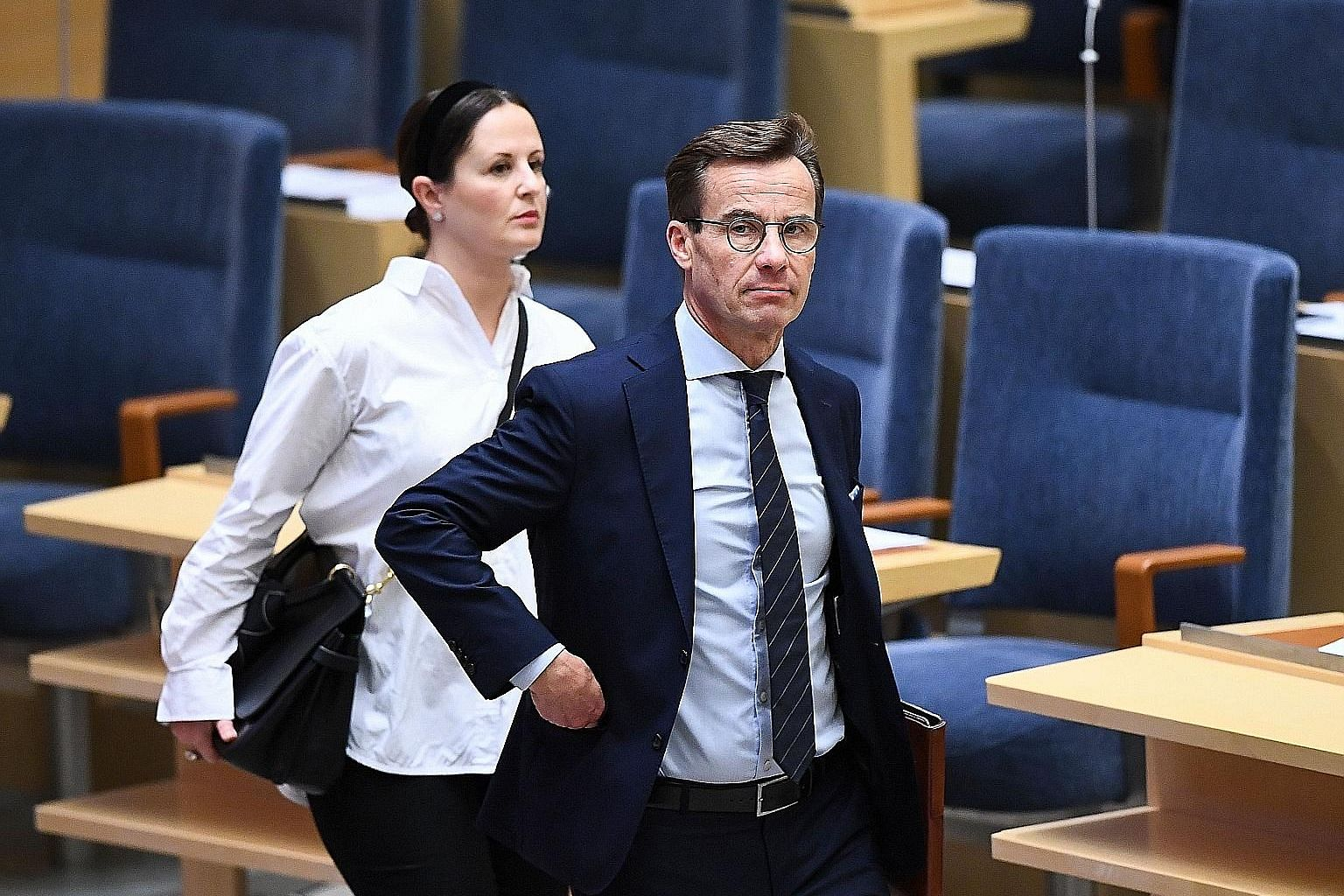 The Swedish Parliament on Wednesday rejected an attempt by Mr Ulf Kristersson, (left) leader of the centre-right Moderate Party, to form a minority Cabinet that would have had to rely on the support of the ultranationalist Sweden Democrats to make im