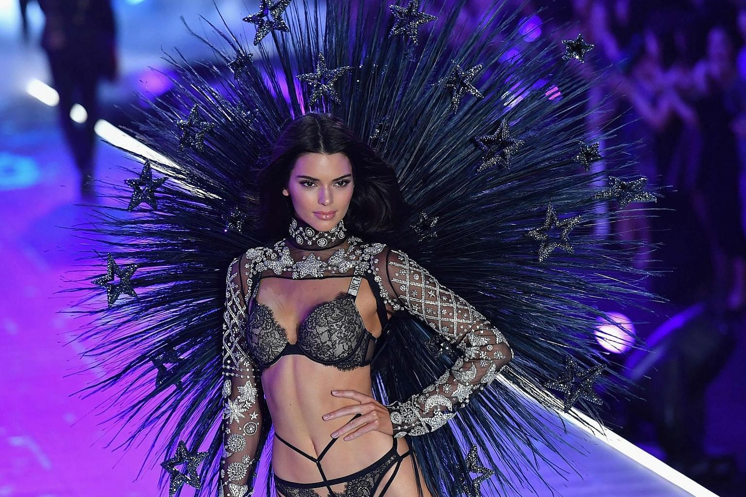 Kendall Jenner at the Victoria's Secret Fashion Show last week in New York City. Profits, sales and market share of the company have all fallen over the past year as natural cleavage comes into fashion.