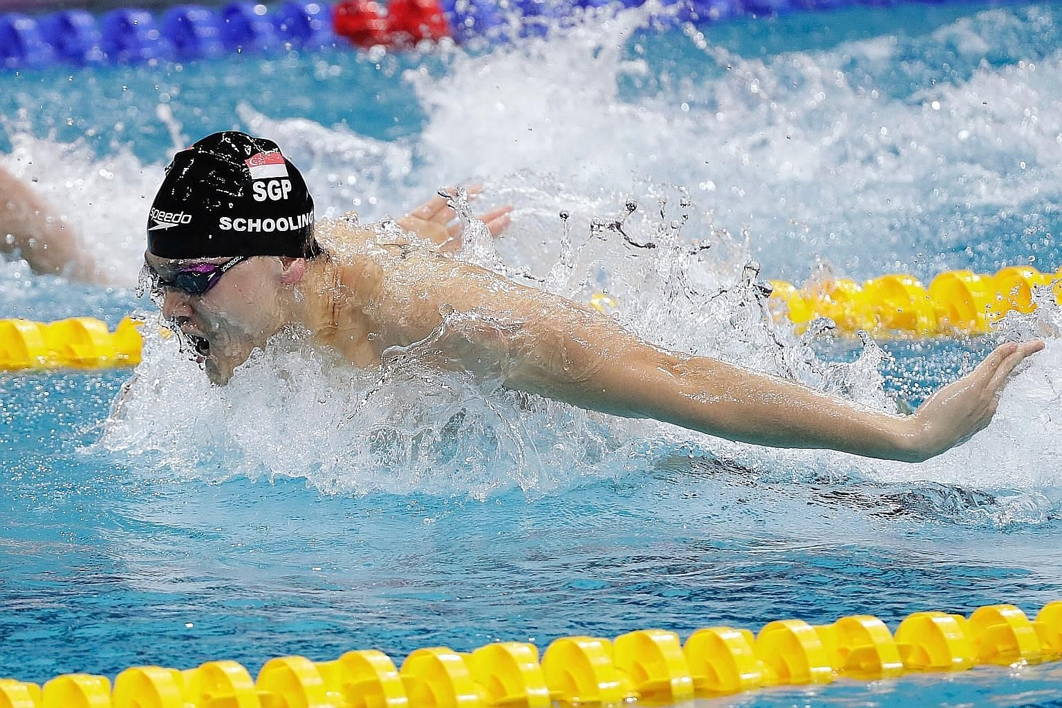 Olympic champion Joseph Schooling racing in the 100m butterfly final of the Fina Swimming World Cup at the OCBC Aquatic Centre last night. The 23-year-old finished fourth in 51.05sec and attributed the result partly to the lack of preparation time fo