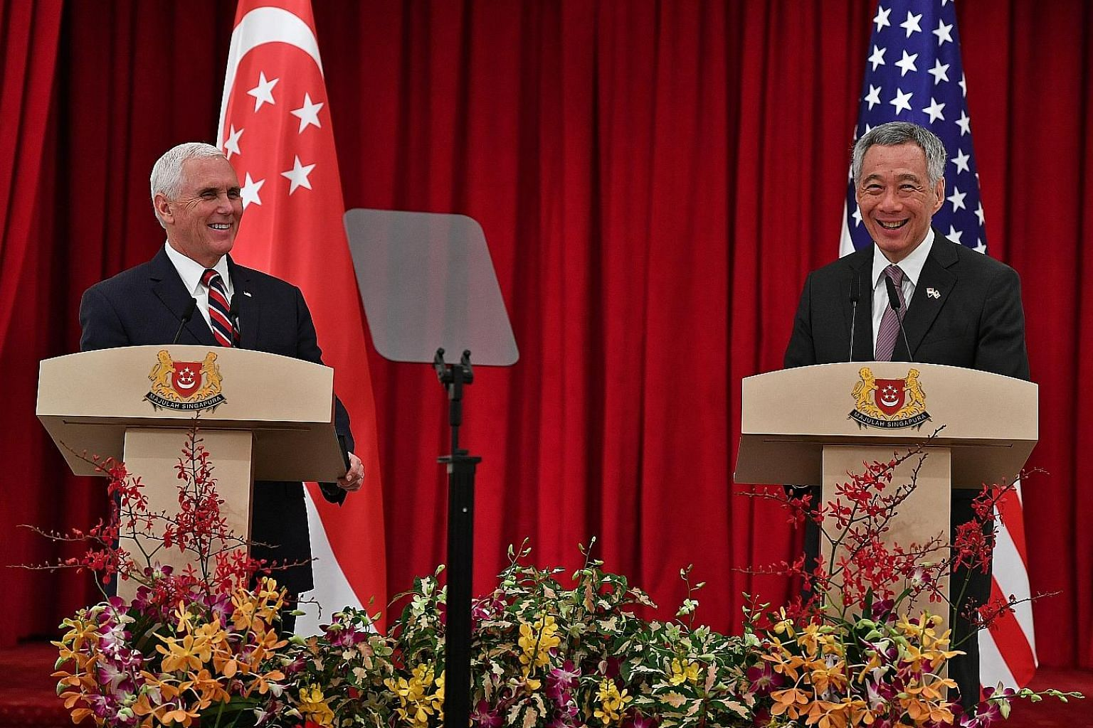 Prime Minister Lee Hsien Loong and US Vice-President Mike Pence speaking at a media conference at the Istana yesterday. They agreed that there were more ways for Singapore and the US to work together.