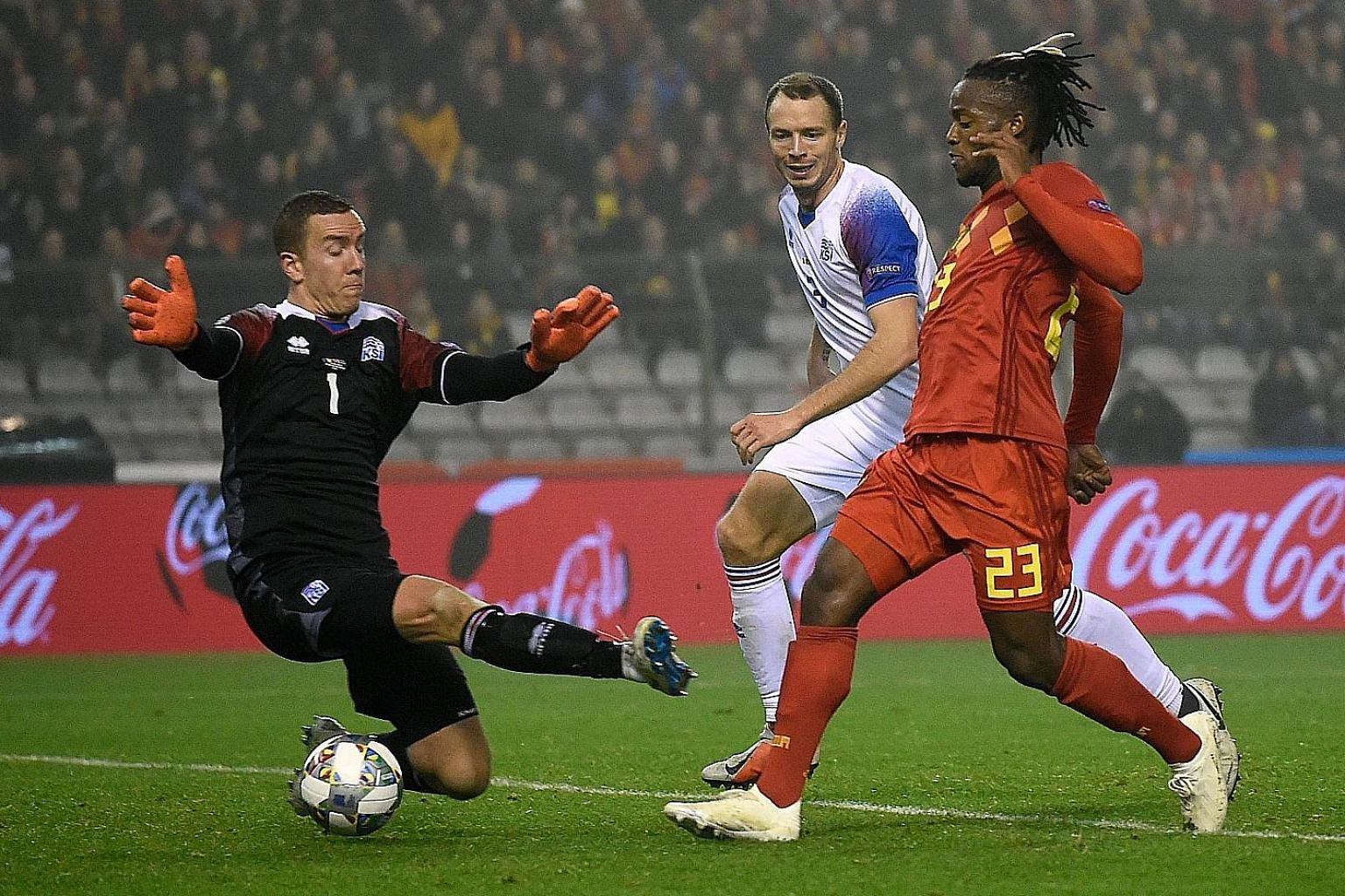 Michy Batshuayi, seen scoring his second, made the most of compatriot Romelu Lukaku's absence with both goals in Thursday's Nations League win over Iceland.