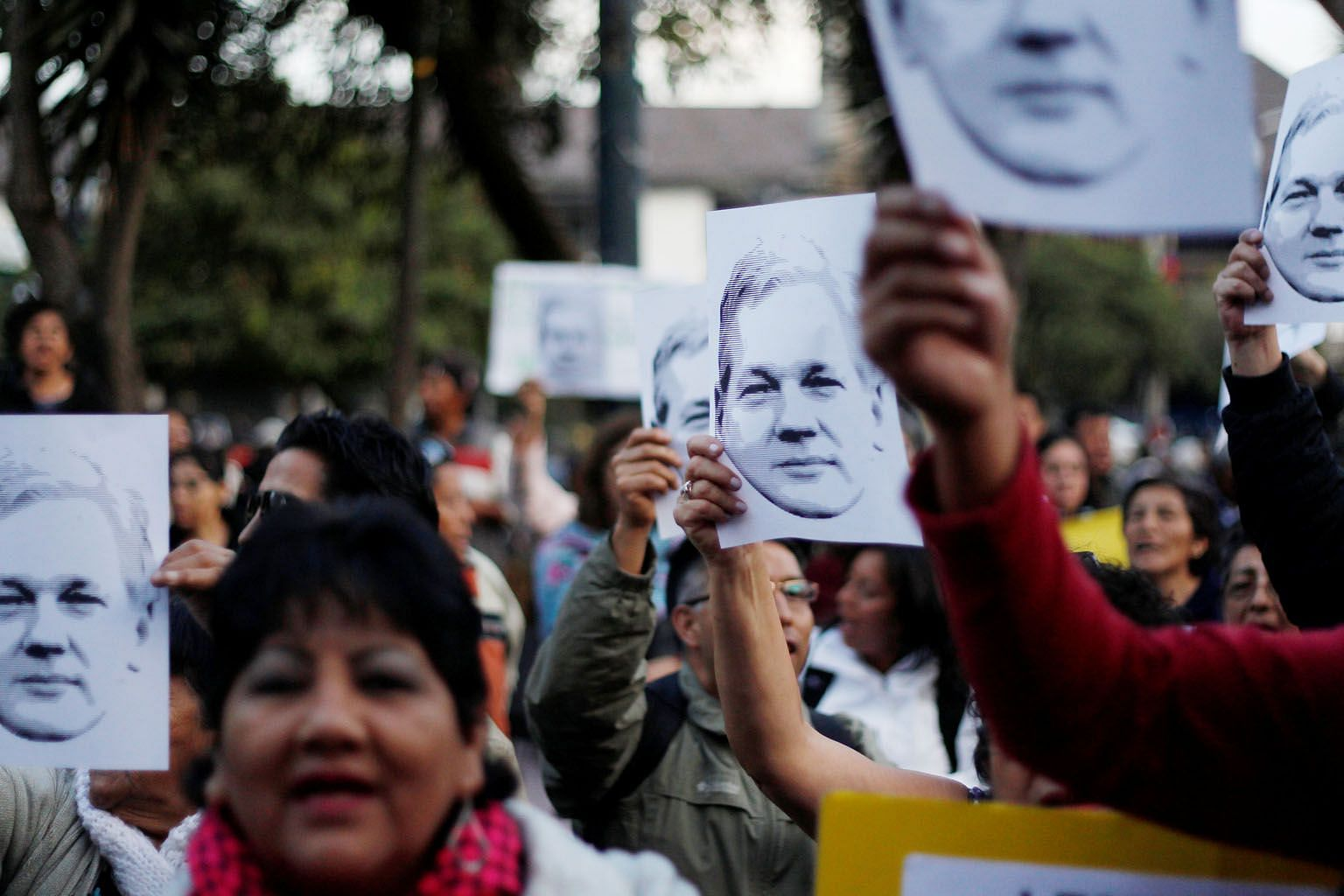 Supporters of WikiLeaks founder Julian Assange during a demonstration in front of the presidential palace in Quito, Ecuador, last month. He has been taking refuge in the country's embassy in London for six years now.