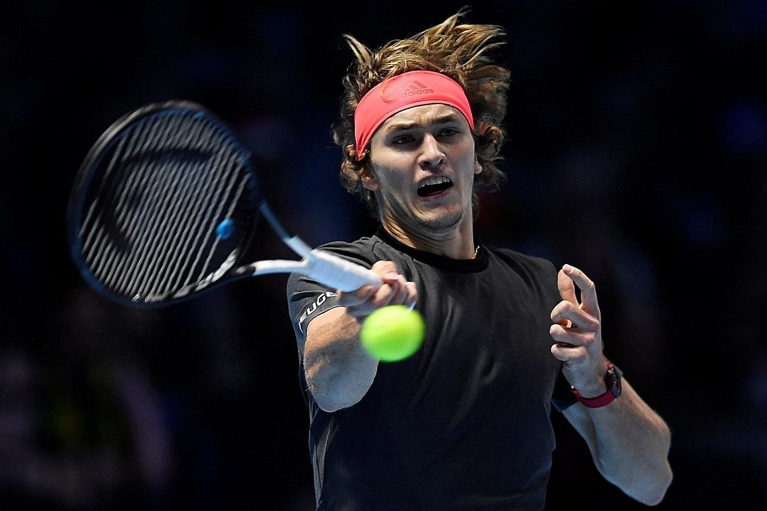 Germany's Alexander Zverev hitting a forehand during yesterday's semi-final against Switzerland's Roger Federer, whom he defeated 7-5, 7-6 (7-5).