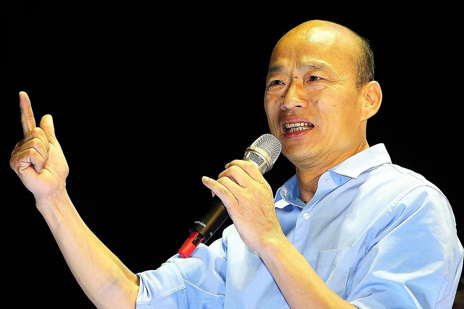 Mr Han Kuo-yu speaking at a rally in Kaohsiung last month. The 61-year-old KMT veteran was largely unknown only a year ago. Now, he commands a rock star-like following, parlaying an everyman charisma and folksy eloquence to smashing effect.