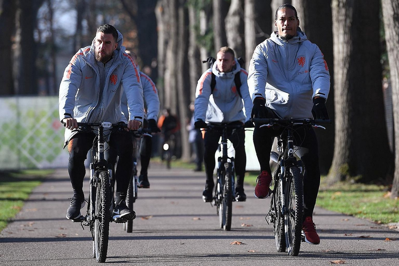 Liverpool's Virgil van Dijk arriving for training with his Dutch teammates at the KNVB Campus in Zeist, Netherlands, ahead of their Nations League match against Germany.