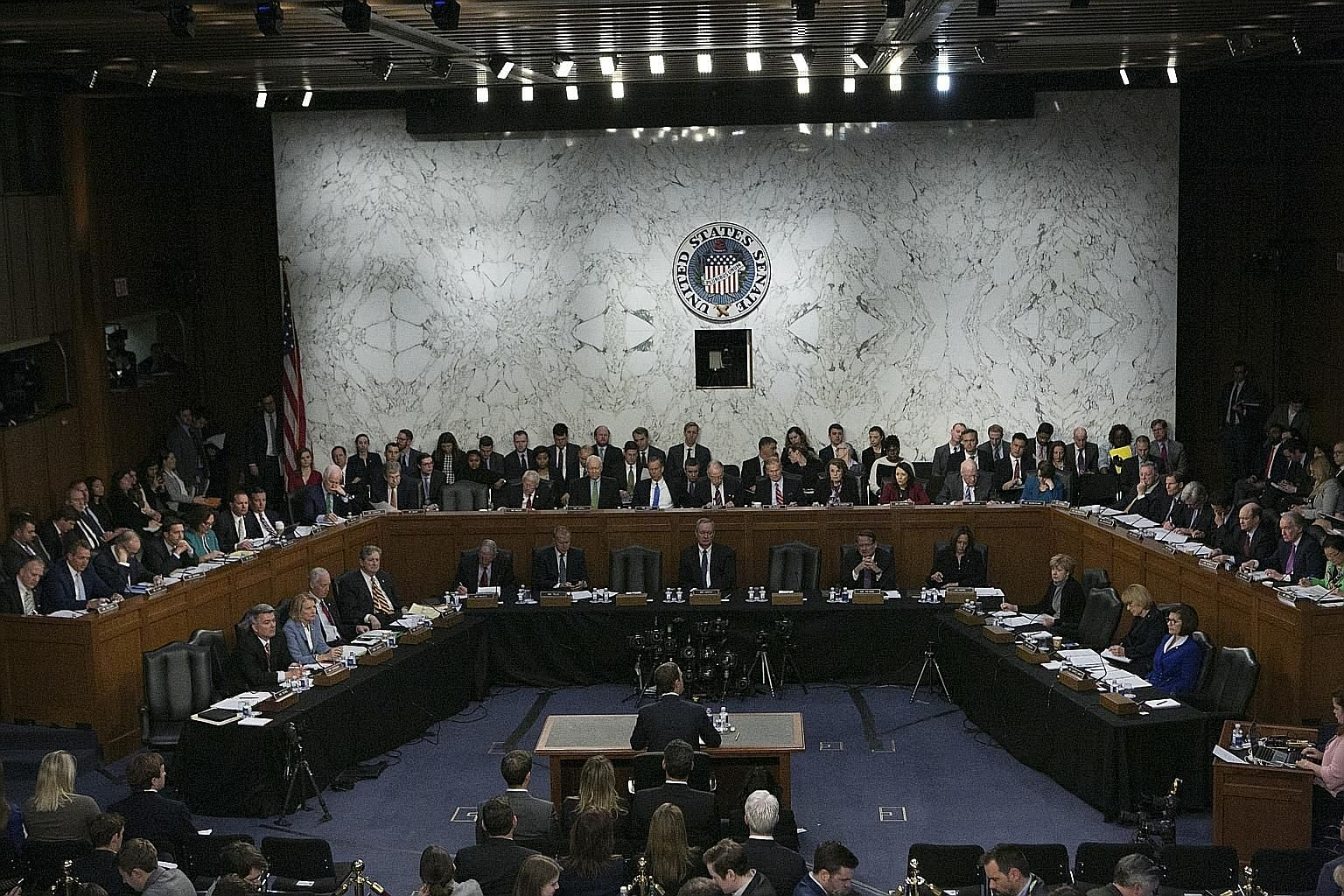 """Facebook chief executive officer Mark Zuckerberg (back to camera) testifying on Capitol Hill in Washington in April on revelations that the platform allowed Russian propaganda and conservative-leaning """"fake news"""" to flourish. An NYTimes probe has sho"""