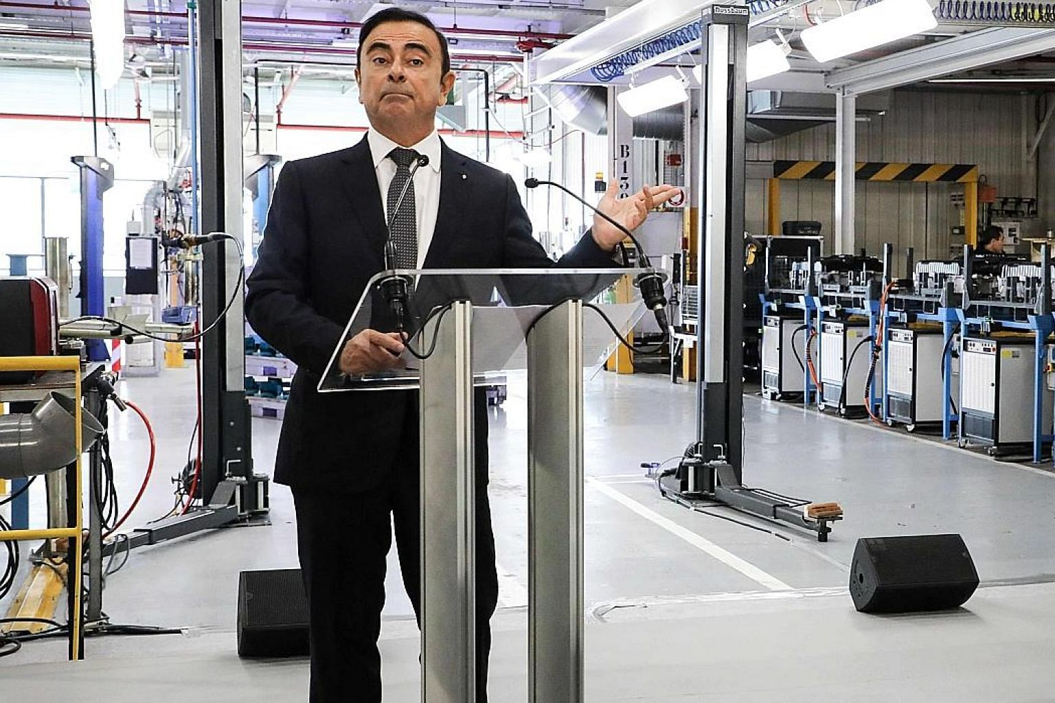 Mr Carlos Ghosn, chairman of both Nissan and Renault, speaking at the Renault factory in Maubeuge, in northern France, earlier this month. He has since been arrested by the Japanese police for financial misconduct.
