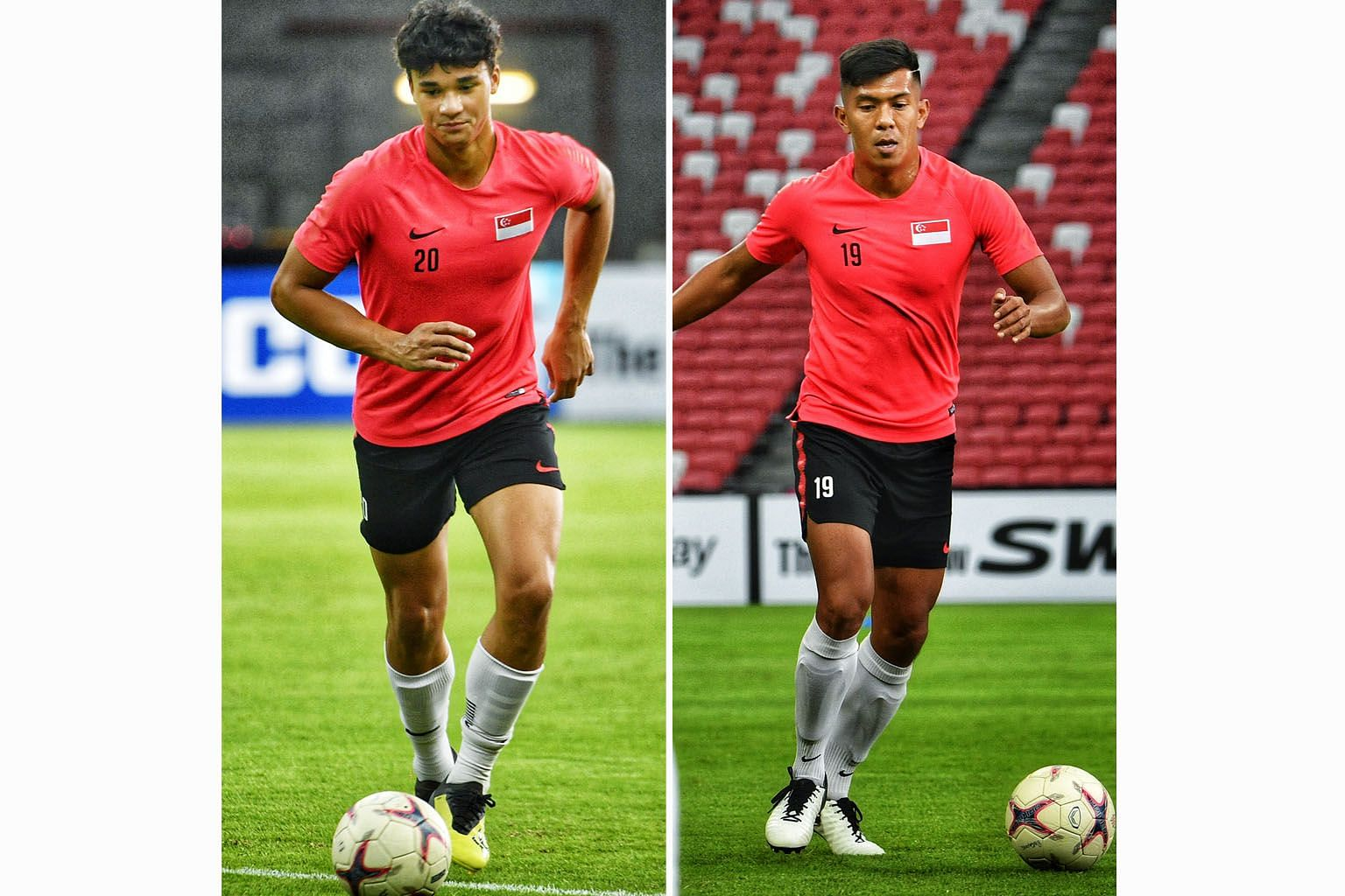 Singapore need goals against Timor-Leste tonight and their line-up will feature both Ikhsan Fandi (left) and Khairul Amri up front.