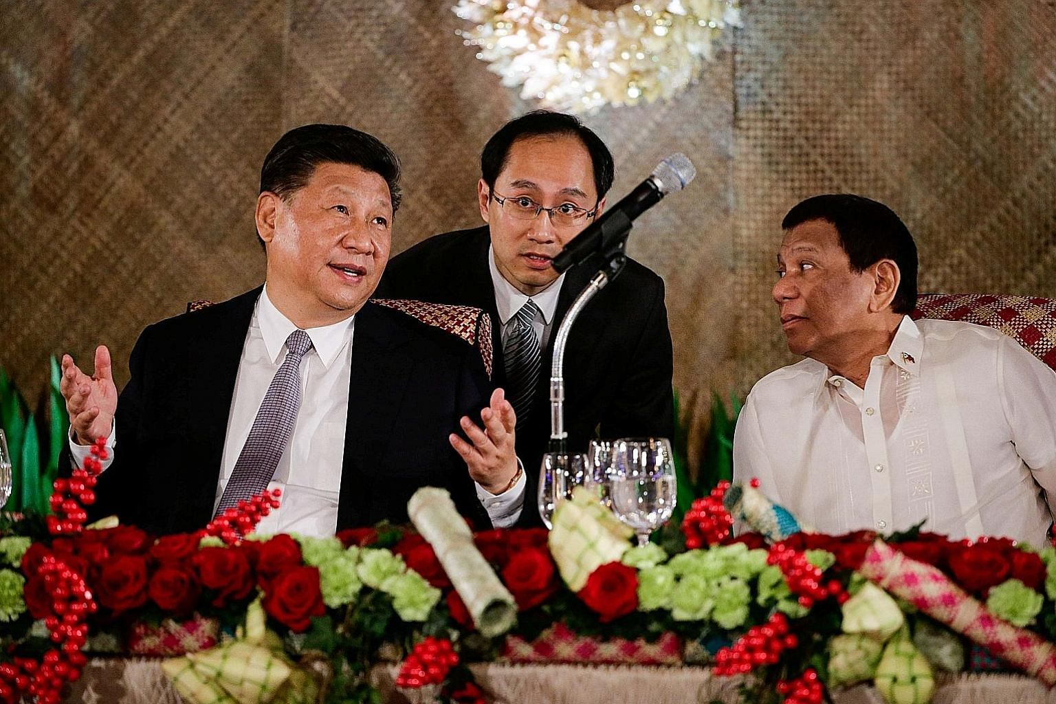 Chinese President Xi Jinping and Philippine President Rodrigo Duterte at the Malacanang Palace in Manila on Tuesday. The two presidents had an in-depth exchange of views during Mr Xi's two-day visit to the Philippines.