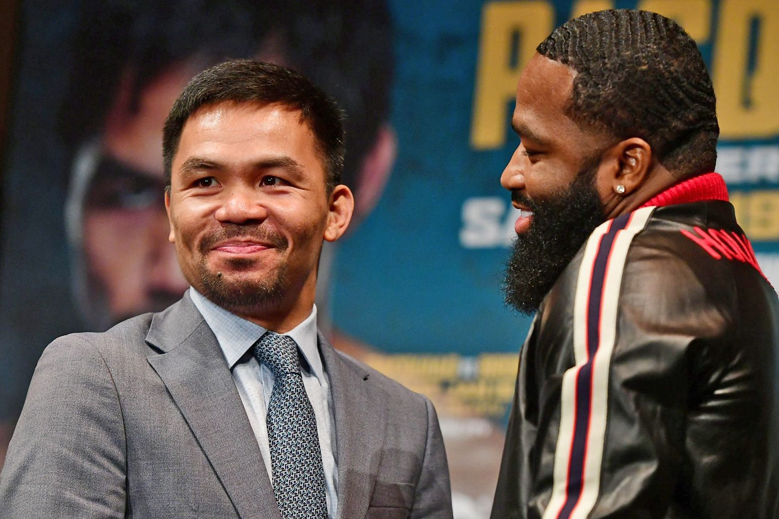 Manny Pacquiao and Adrien Broner facing off in New York on Monday for their Jan 19 welterweight fight. Pacquiao wants Freddie Roach, his long-time trainer, to return and be in his corner in Las Vegas.