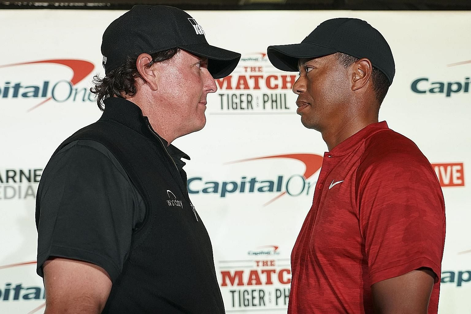 """Phil Mickelson will take on Tiger Woods today in an 18-hole matchplay event dubbed """"The Match"""" at Shadow Creek in Las Vegas. The winner of the exhibition game will take home US$9 million."""