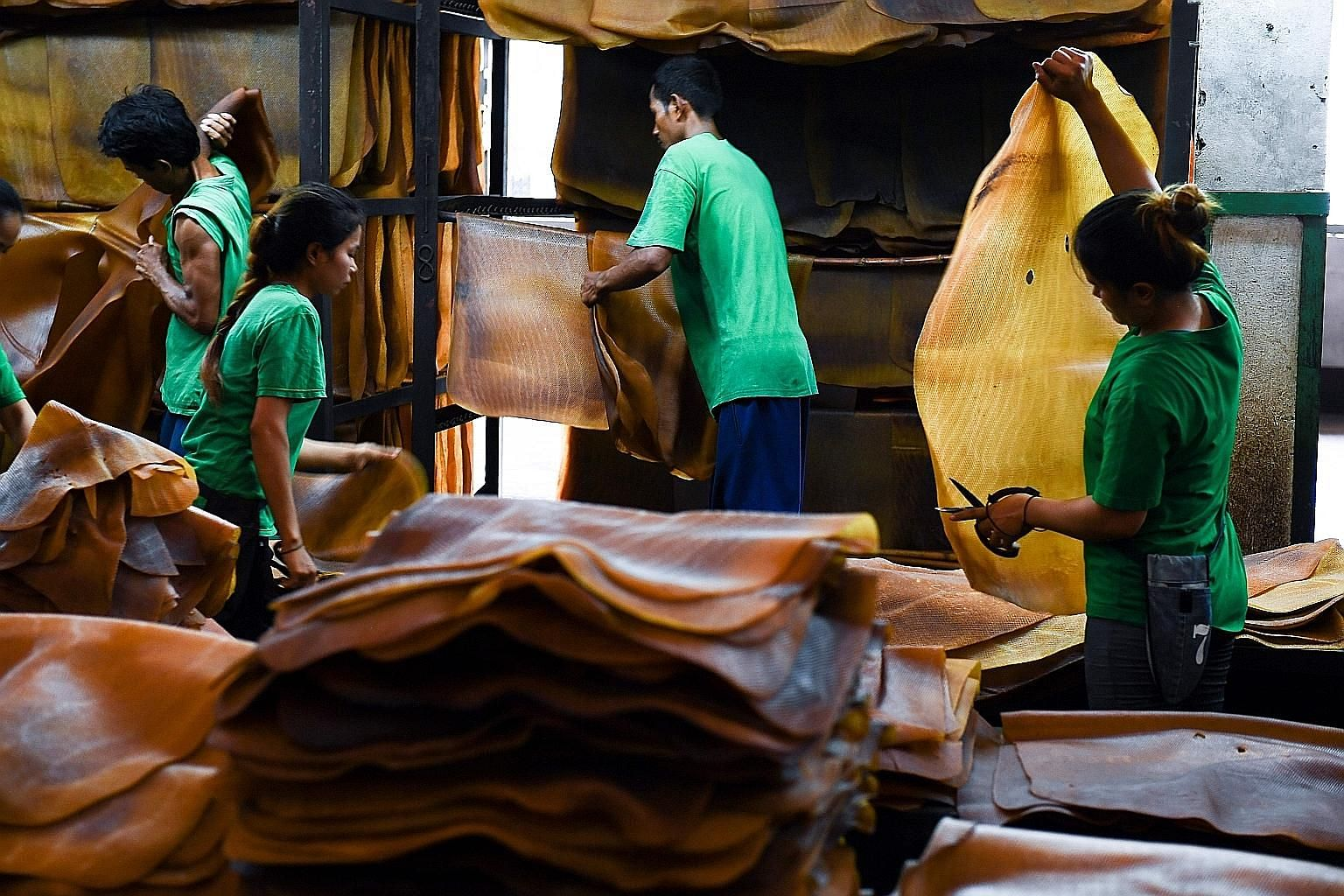 Workers sorting out raw rubber sheets at a factory in Rayong province, Thailand. Thai latex makes everything from tyres and condoms to baby pacifiers and surgical gloves, but the rubber trade is at a crossroads as a bitter dispute between the world's