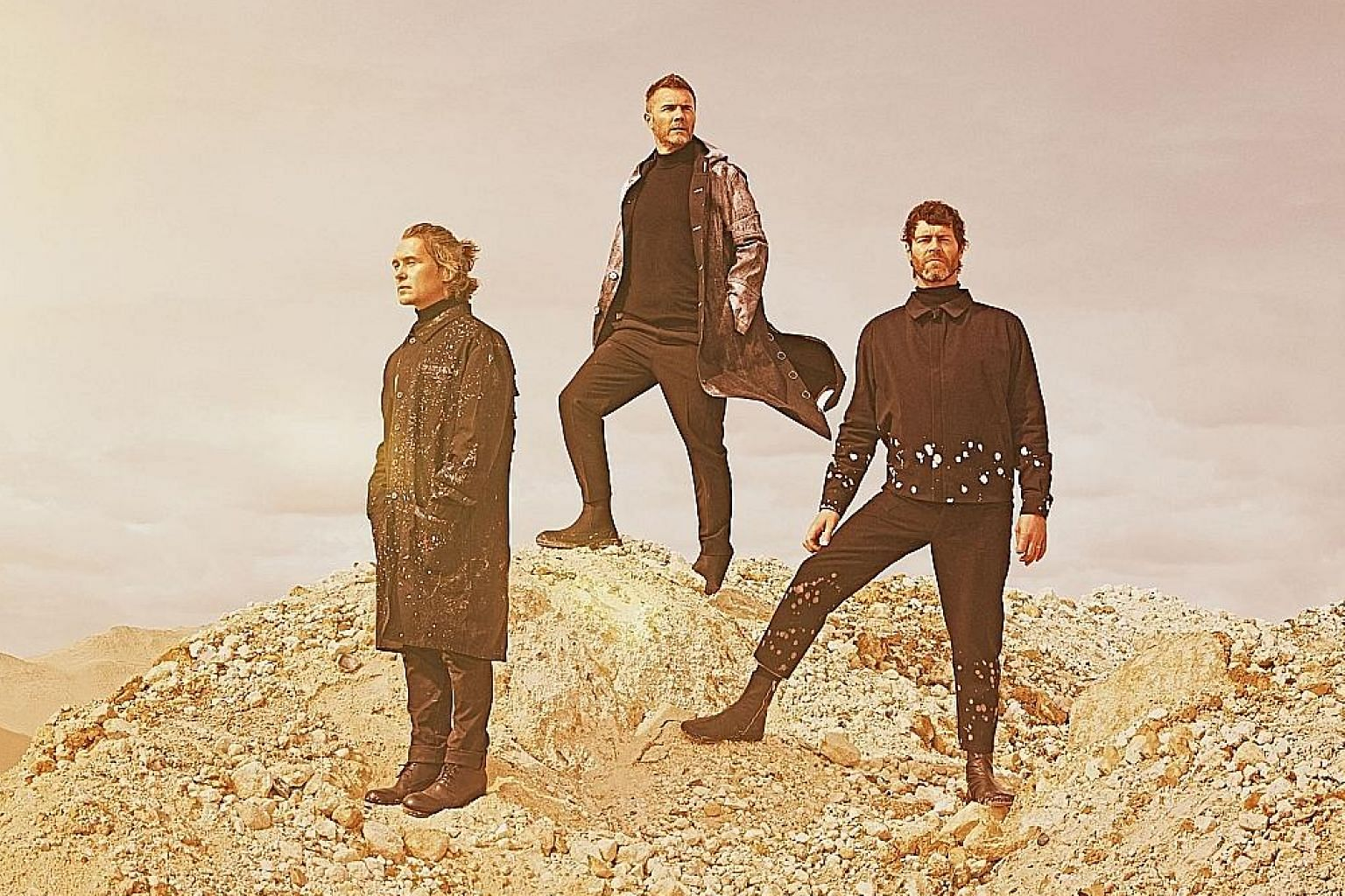 The remaining members of Take That are (from far left) Mark Owen, Gary Barlow and Howard Donald.