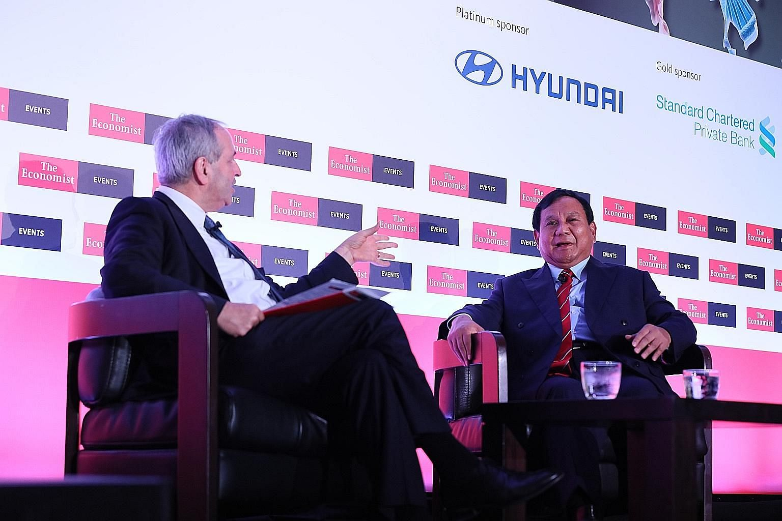 Indonesian presidential candidate Prabowo Subianto with The Economist executive and diplomatic editor Daniel Franklin.