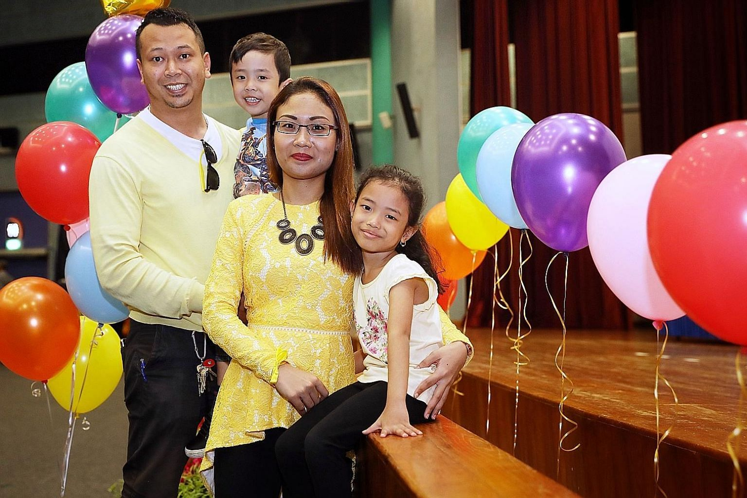 Mr Faizal Jamil with his wife, Madam Normaya Johari, and children Nayli Yusyairah (right), six, and Izz Haziq, three. The couple and their daughterhave completed the pilot KelasMateMatika@CC programme.