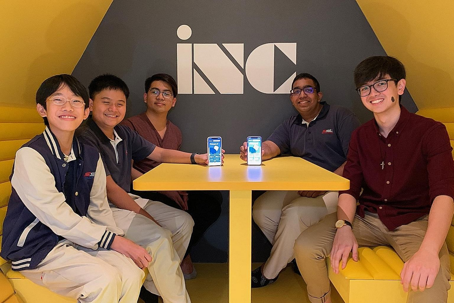 Young app developers (from left) Yee Jia Chen, Axios Yeo, Dalton Ng, Shannen Rajoo and James Lim. They are from the School of Science and Technology, Singapore, which aims to nurture innovators who improve society through real-world application of sc