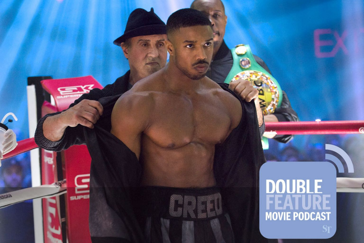 Sylvester Stallone as Rocky Balboa and Michael B Jordan as Adonis Creed in Creed II, creed 2 podcast