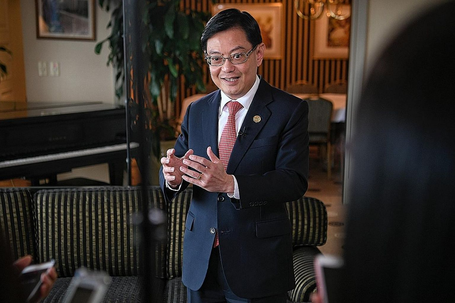 Finance Minister Heng Swee Keat speaking to reporters on Saturday after the end of the G-20 summit. He said the 4G ministers will examine the fundamental, long-term issues that Singapore needs to address.