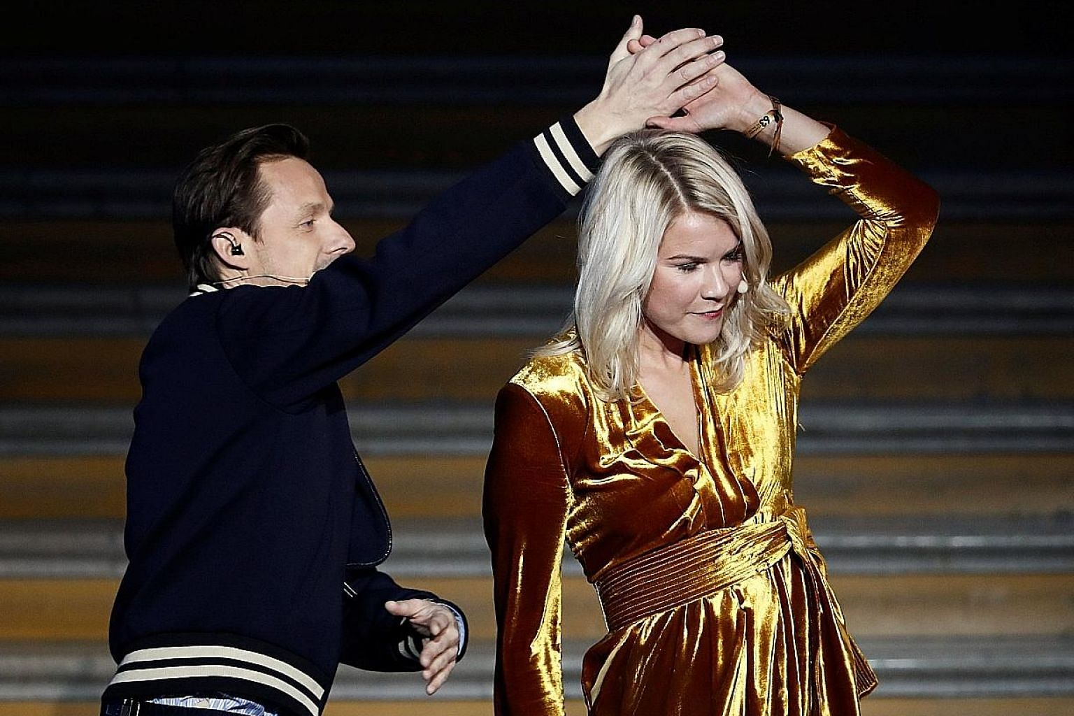 """DJ Martin Solveig was playing music throughout the ceremony, and also danced with Ada Hegerberg to Frank Sinatra. But her answer was """"No"""" when asked if she knew how to """"twerk"""" and he later apologised, saying it had been """"a joke""""."""