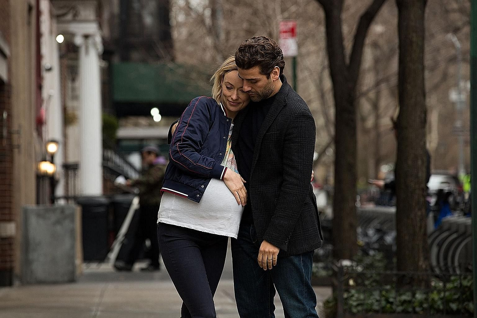 Film-maker Dan Fogelman (above, with his wife Caitlin Thompson) is the director of Life Itself, which stars Olivia Wilde and Oscar Isaac (top).