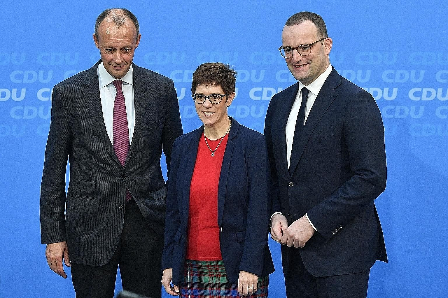 Vying for the Christian Democratic Union party's leadership are lawyer Friedrich Merz (left), CDU secretary-general Annegret Kramp-Karrenbauer and Health Minister Jens Spahn.