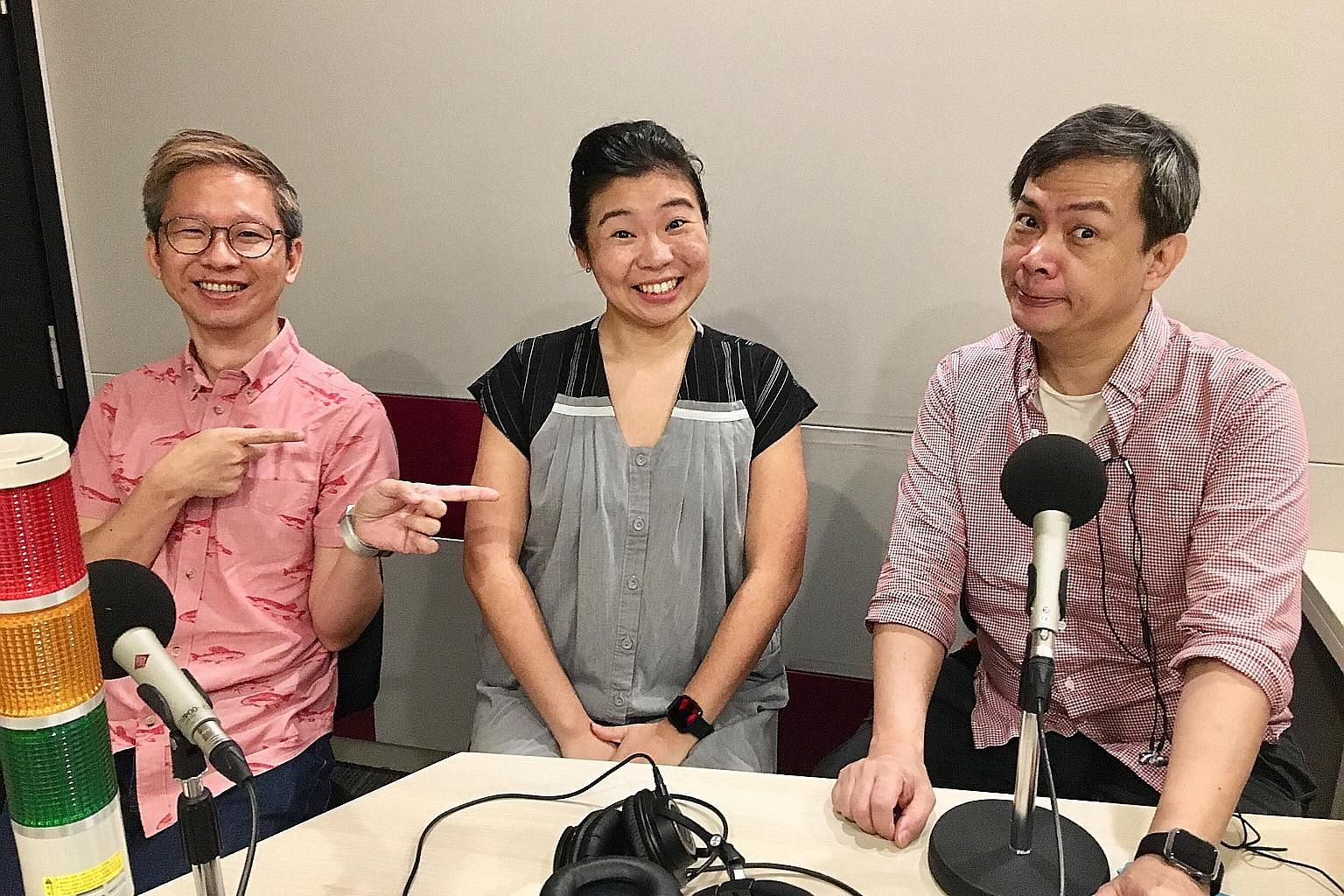 Life writers (from far left) Boon Chan, Melissa Sim and John Lui chat about the Widows film and upcoming concerts by Singapore singer Charlie Lim and Mandopop star Khalil Fong.