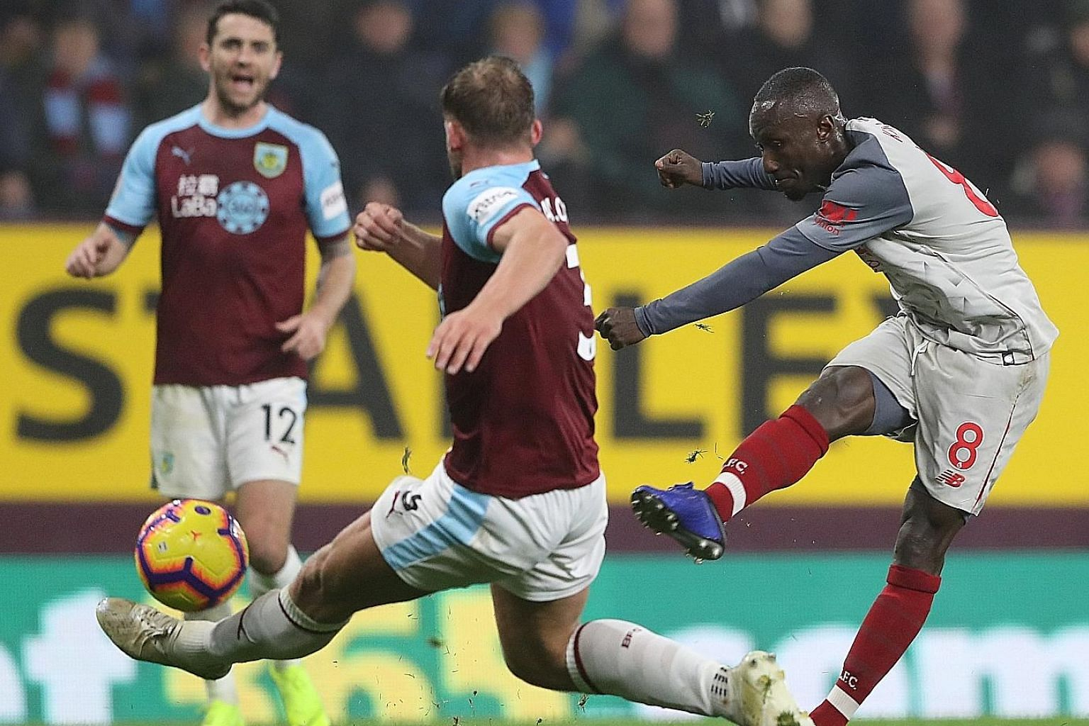 Liverpool's Naby Keita going close with a shot against Burnley in their 3-1 win on Wednesday at Turf Moor. Manager Jurgen Klopp is pleased with his work rate and creativity.