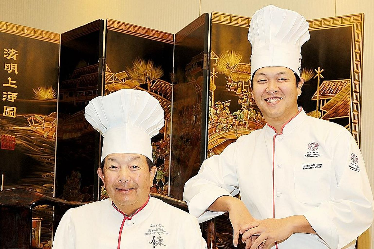 Chef Chen Kenichi (left) now leaves the running of the Shisen Hanten restaurants to his son, chef Chen Kentaro (right).