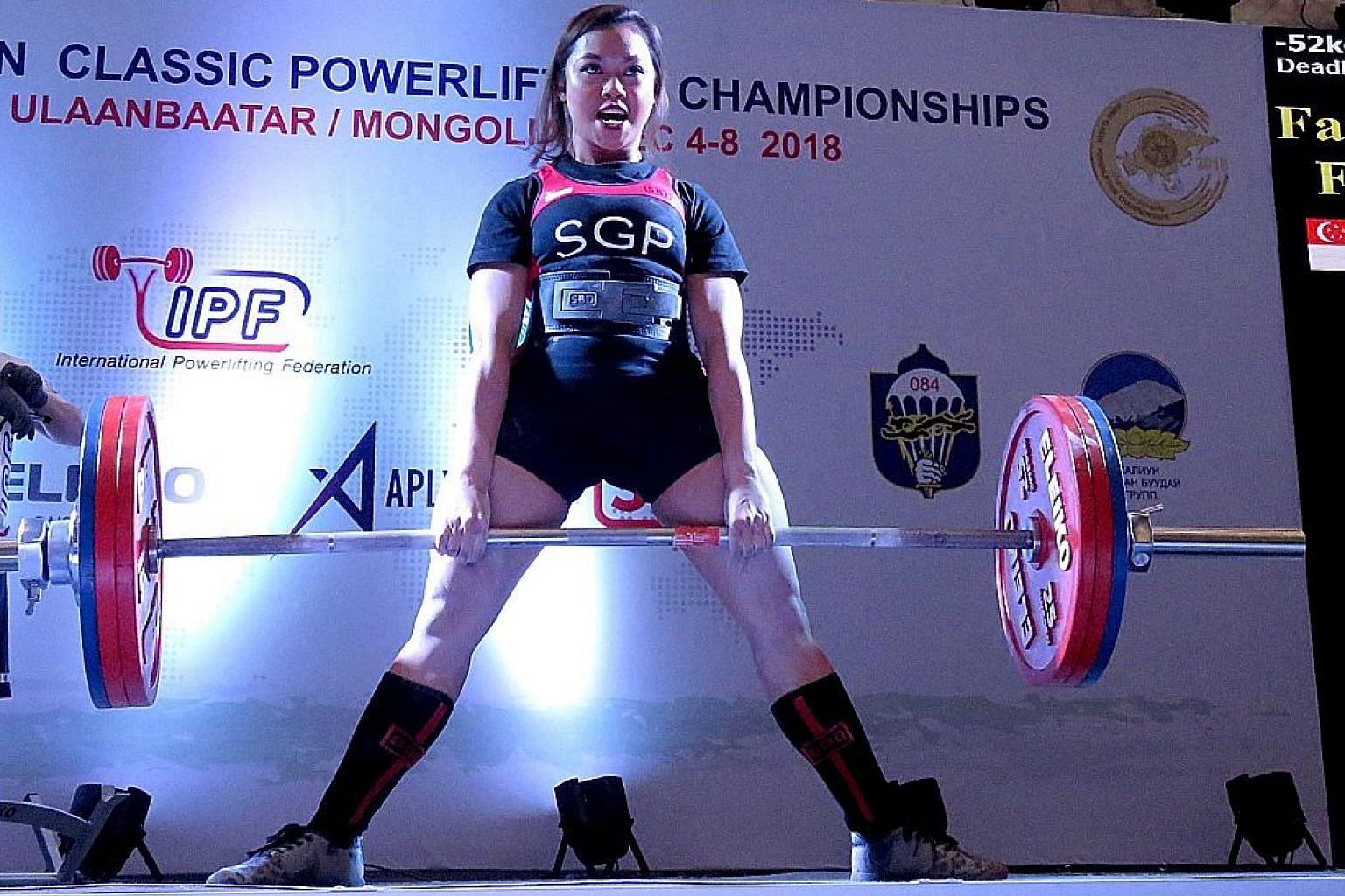 Farhanna Farid (left), weighing below 52kg, broke the Asian record thrice, ending with a 173kg dead lift in Ulaanbaatar, while Thor Qian Qi, in the U-52kg junior class, managed a 130kg squat.