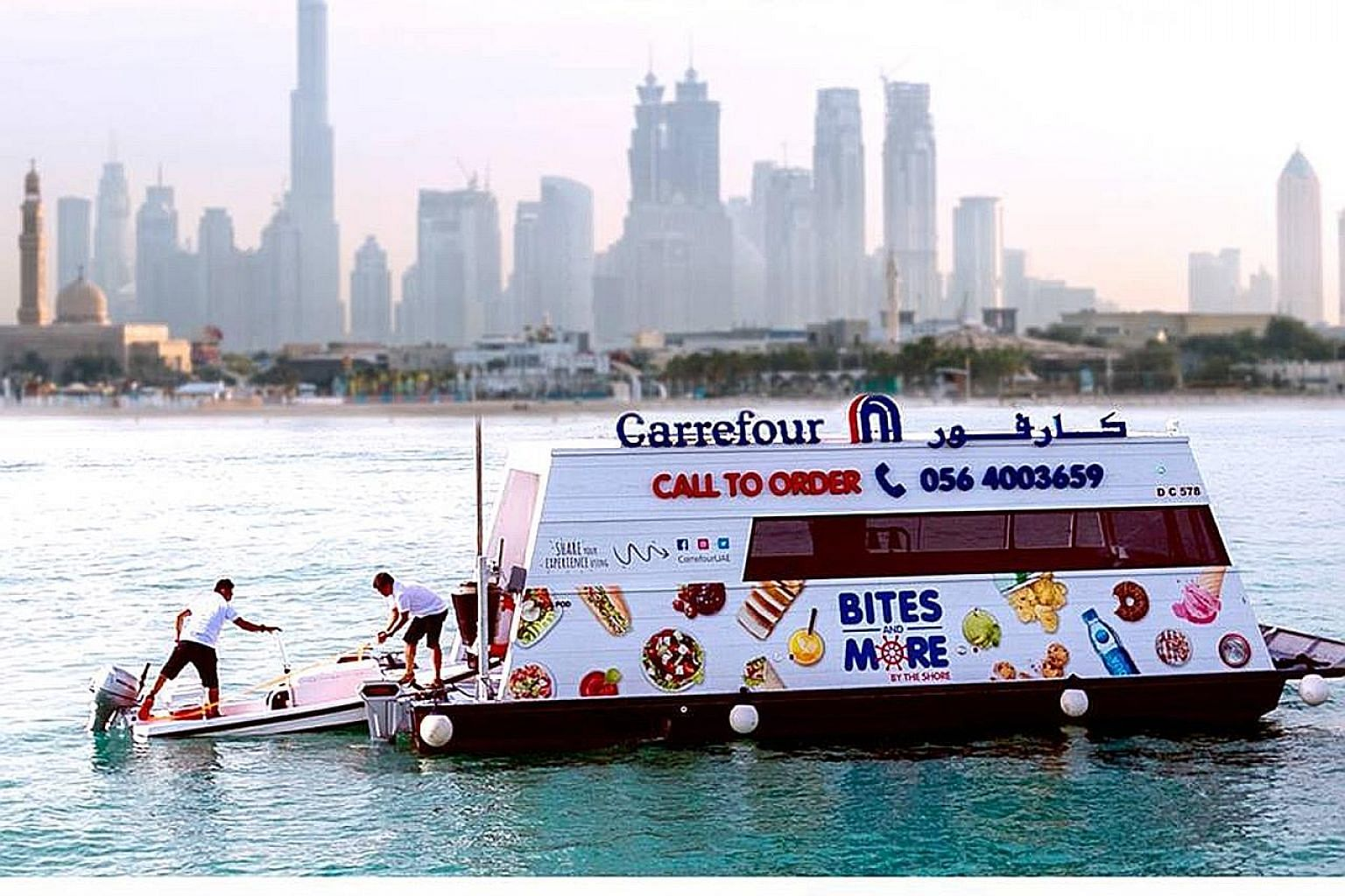 Carrefour has set up sail-through supermarkets to cater to customers on yachts, boats and jet-skis at three of Dubai's beaches.