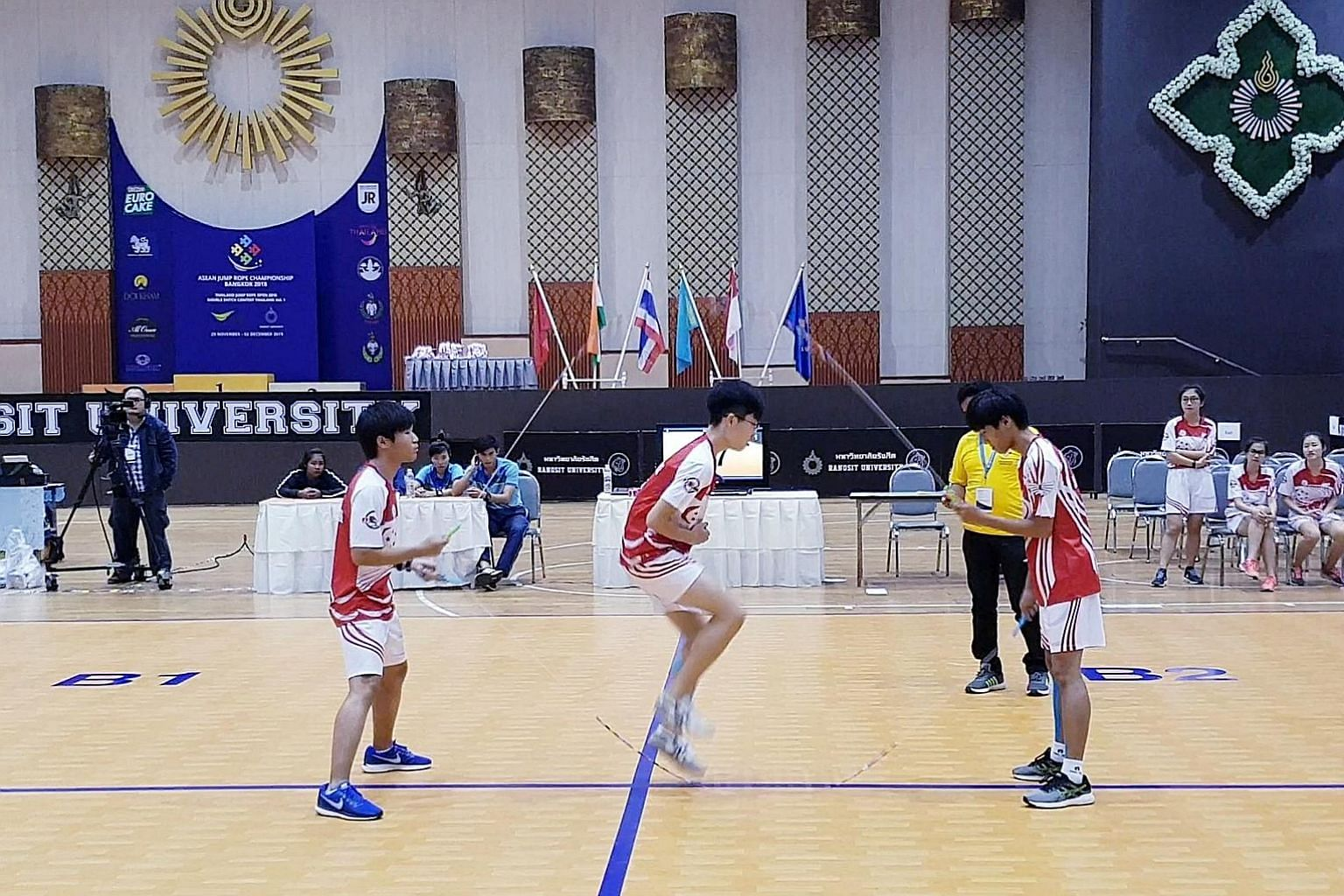 From left: Chelson Loh, Henry He and Jowell Nim were part of a Singapore team of rope-skipping athletes who hopped, skipped and jumped their way to a total of 17 golds, 19 silvers and 12 bronzes in three events - the Asean Jump Rope Championship, the