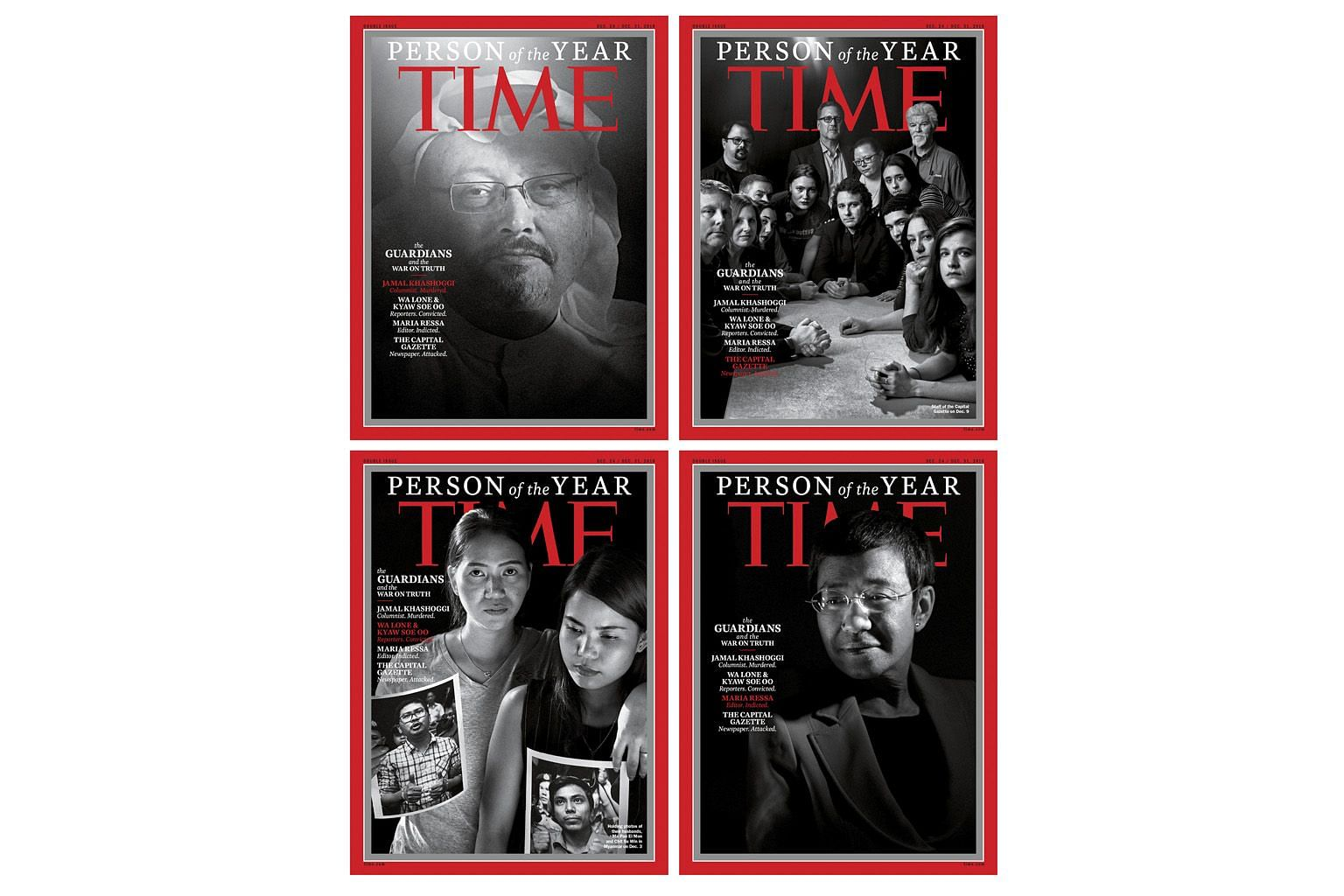 Time published four magazine covers to spotlight the different persecuted honourees: (Clockwise from top left) murdered Saudi journalist Jamal Khashoggi; the staff of the Capital Gazette in Annapolis, Maryland, where a gunman killed five people in Ju
