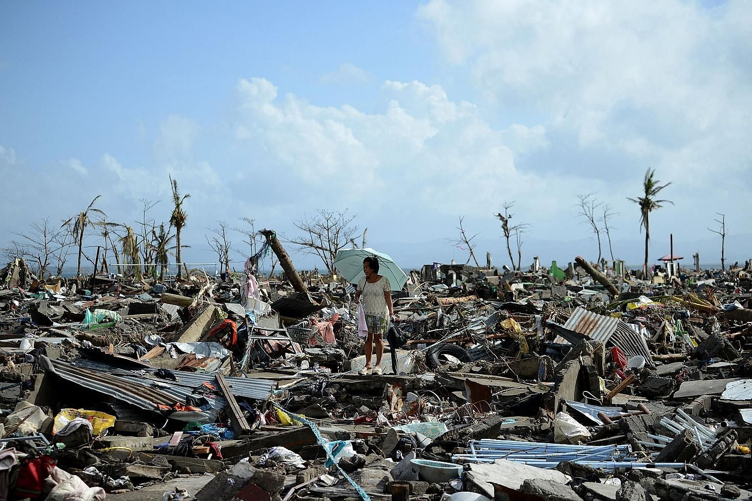 The aftermath of Super Typhoon Haiyan in Tacloban, in 2013, which left more than 7,000 people dead or missing across the central Philippines. The Permian-Triassic mass extinction on Earth that wiped out marine life millions of years ago may parallel
