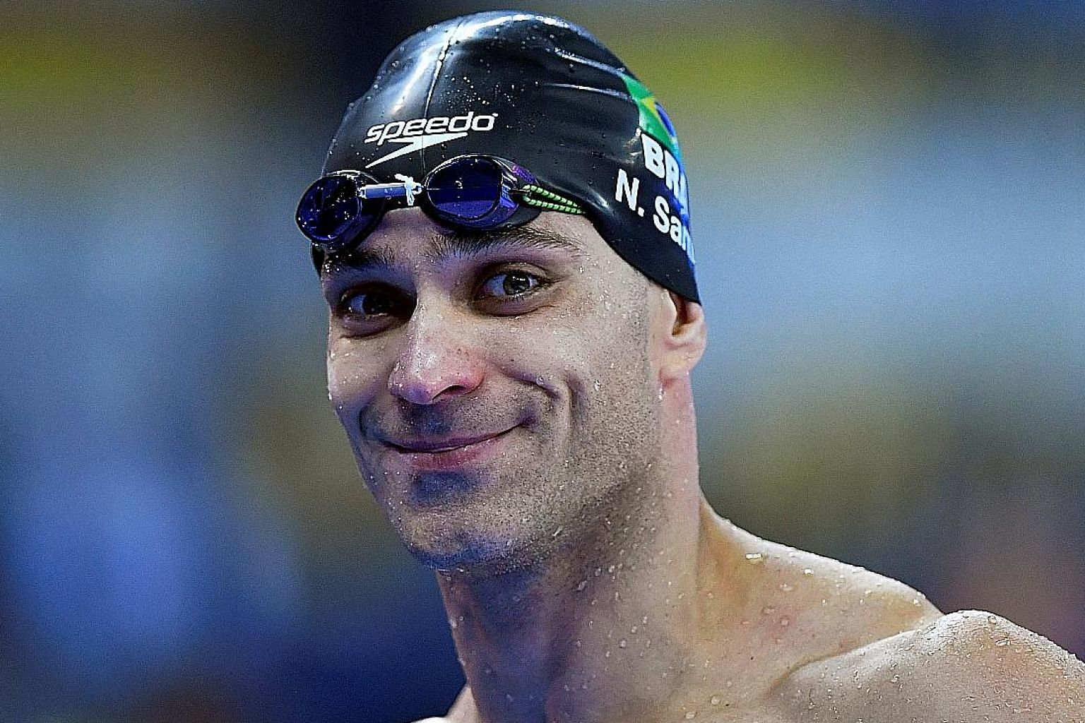 Brazil's Nicholas Santos won the 50m fly gold in a championship record of 21.81 seconds yesterday, beating South Africa's Chad le Clos by 0.16sec.