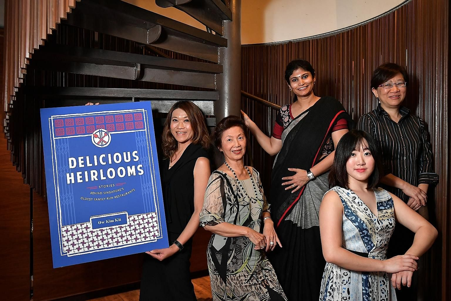 (From far left) Delicious Heirlooms author Ow Kim Kit with Madam Soon Puay Keow, 76, managing director of Spring Court Restaurant; Mrs Veshali Visvanaath, 40, director of marketing at Muthu's Curry; Ms Jasmine Lee, 28, business development manager of