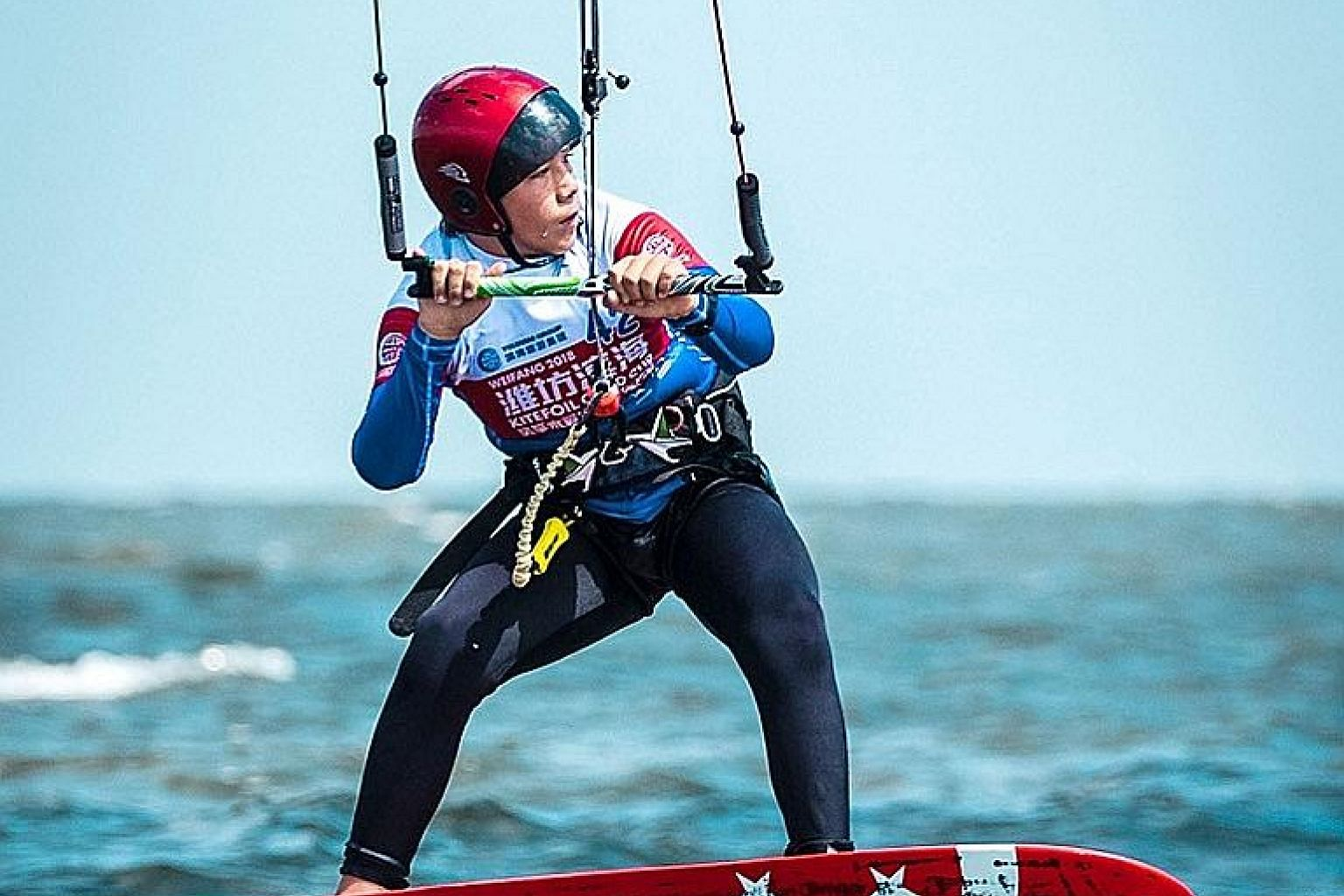 Singaporean kiteboarder Maximilian Maeder, 12, competing at the KiteFoil GoldCup World Series held in Weifang, China from Aug 31 to Sept 5. Kiteboarding is slated to be included at the 2024 Paris Olympics.