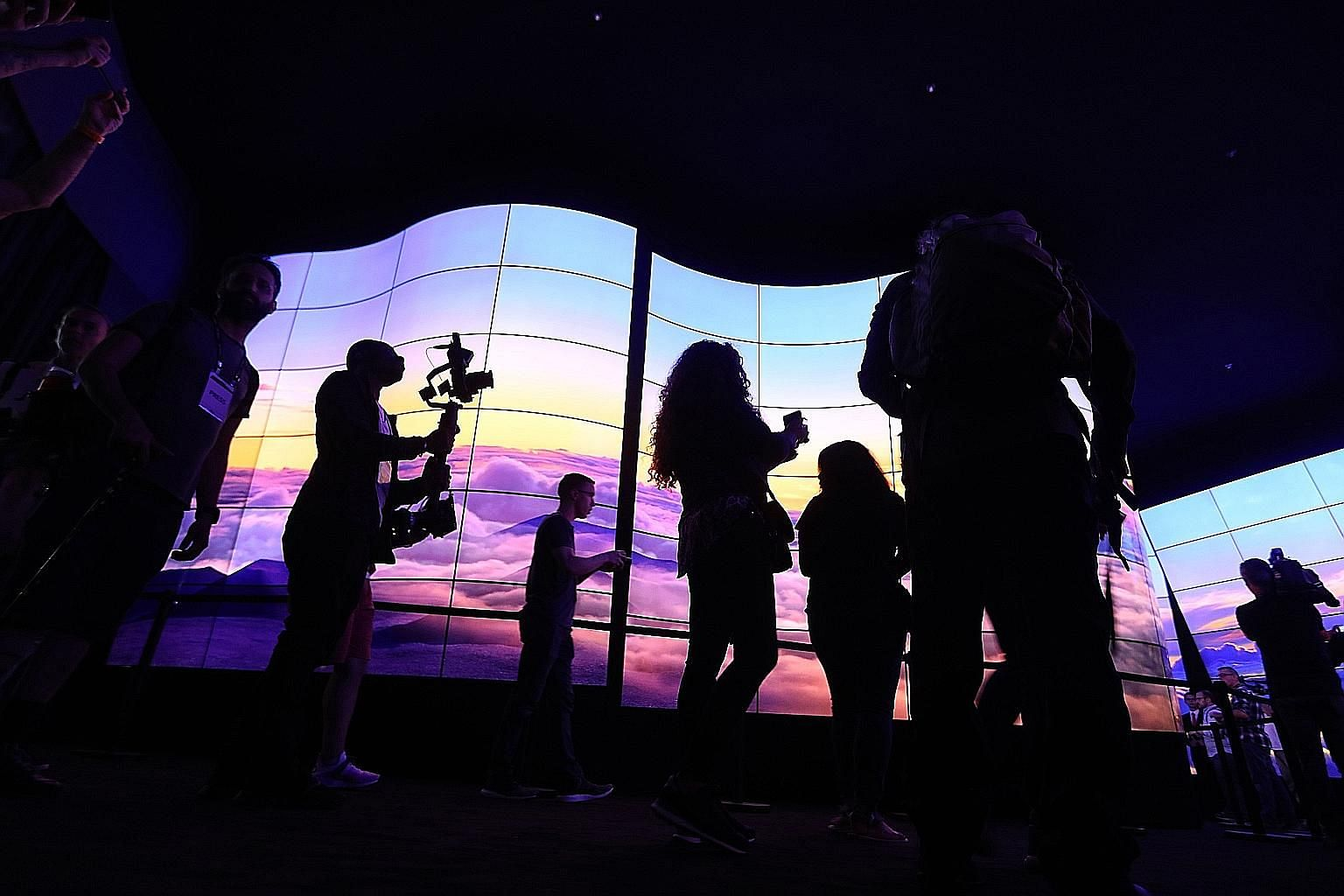 Curved TV screens from LG Electronics on display at the IFA consumer electronics show in Berlin earlier this year. The South Korean conglomerate is shifting its focus to future technologies, such as flexible displays.
