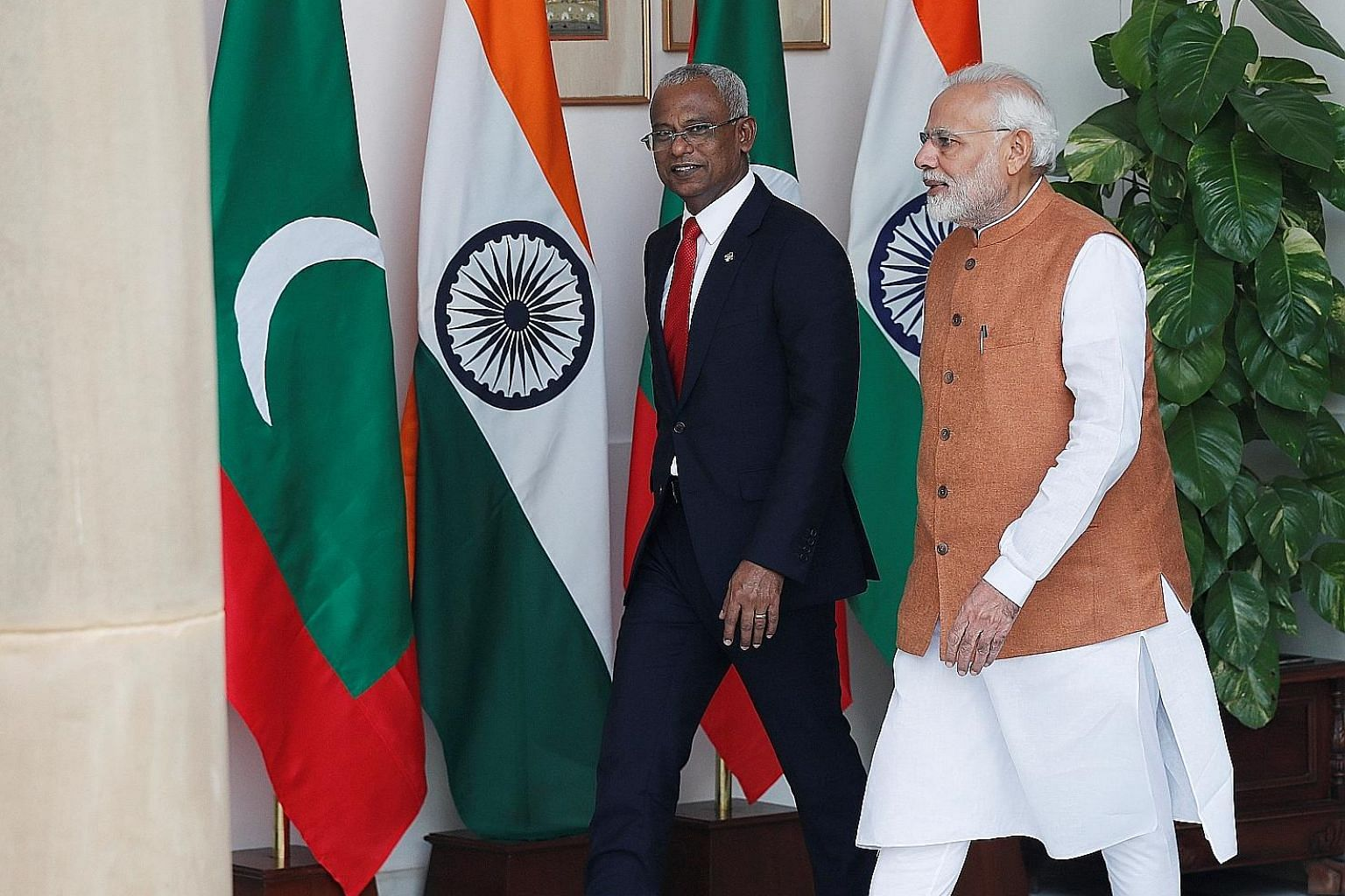 Maldives' President Ibrahim Mohamed Solih (left) and India's Prime Minister Narendra Modi arriving for their meeting at Hyderabad House in New Delhi on Monday.