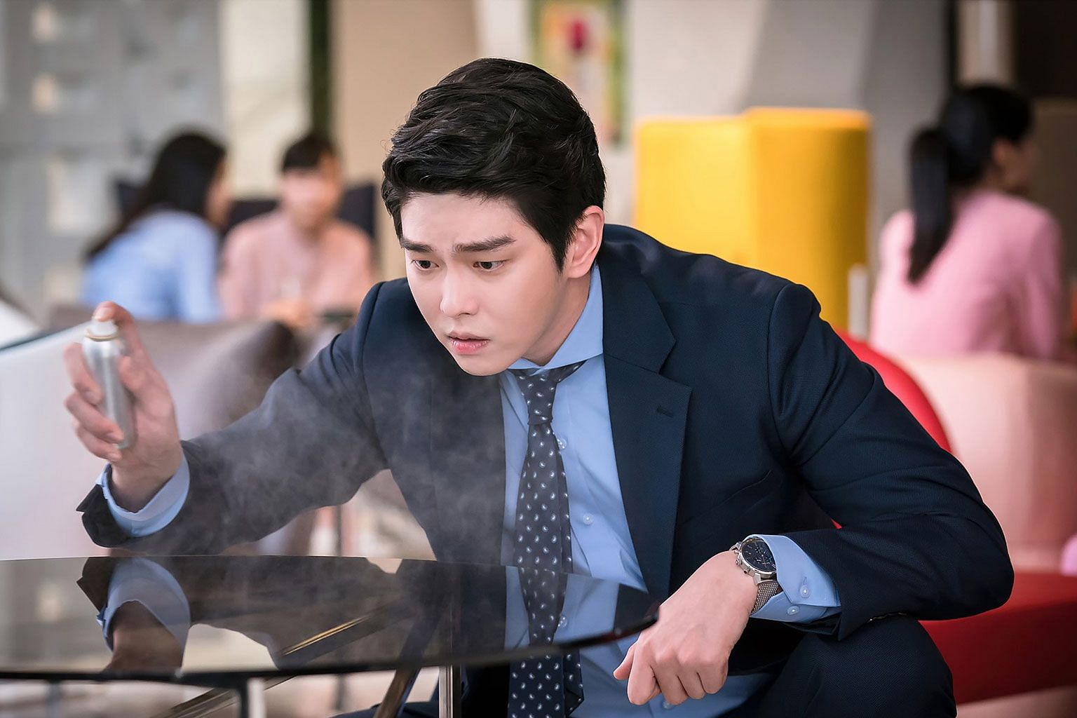 Yoon Kyun-sang (left) plays a germaphobe who runs a cleaning company in Clean With Passion For Now, while Song Hye-kyo and Park Bo-gum (above left and right) star in Encounter.