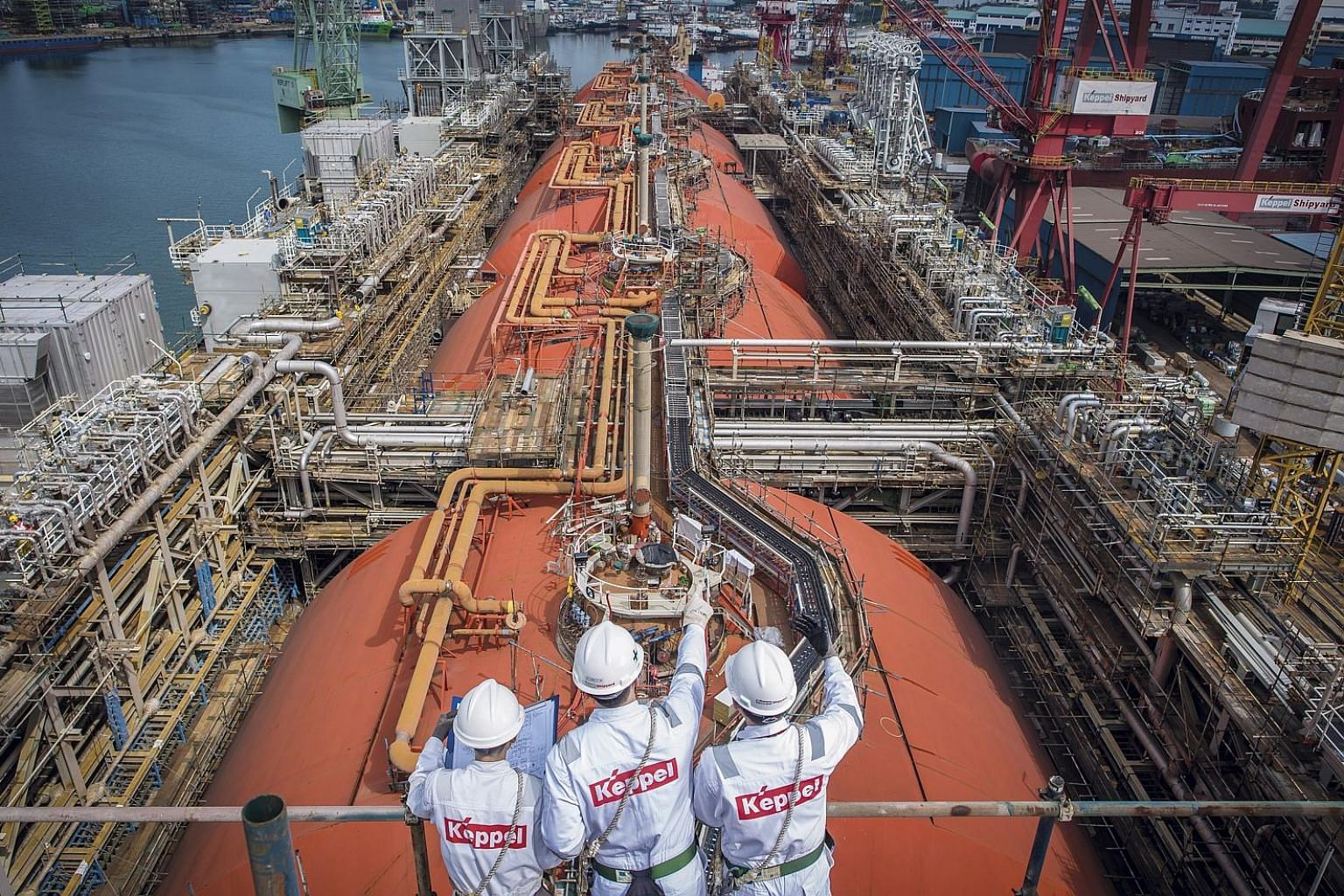 Keppel Offshore & Marine completed the world's first converted floating liquefaction vessel (right) last year. The company's subsidiary has been engaged to design and construct an ice-class liquefied natural gas bunker vessel by the fourth quarter of