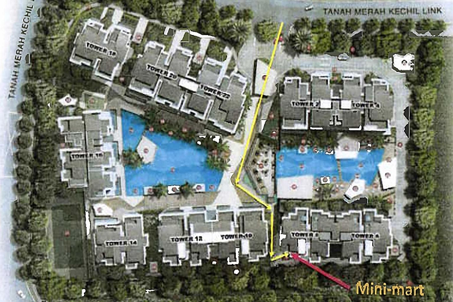 A visitor had to pass by residential blocks and two swimming pools in the common areas of Urban Vista condo to get to the minimart, which was located at the far end from the entrance to the property.