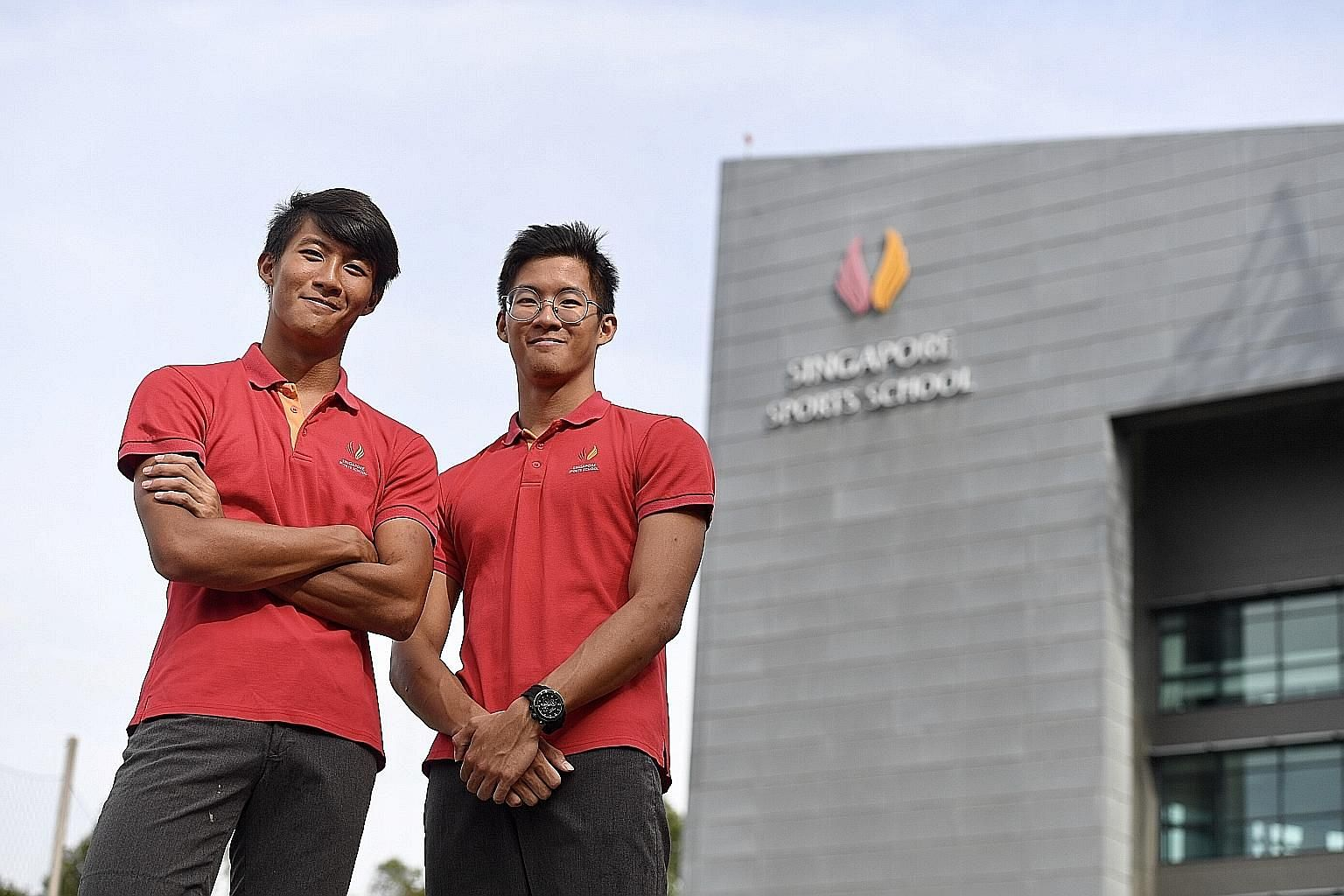 Twins Chong Wei Guan (at left) and Wei Kit are among the Singapore Sports School's top scorers. Wei Guan scored 43 points in the International Baccalaureate exam while Wei Kit scored 44 points, out of a maximum of 45.
