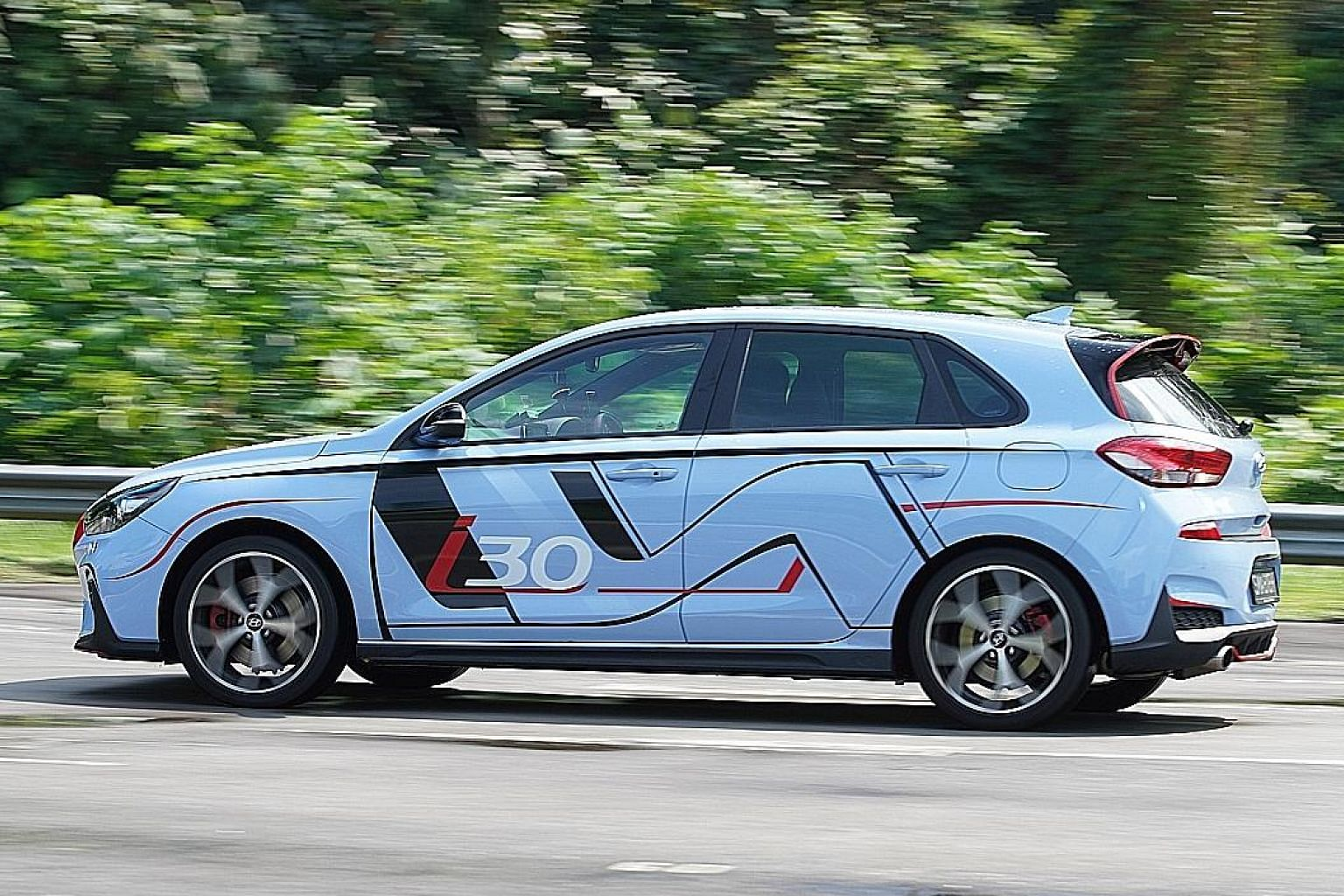 The Hyundai i30 N is equipped with a 2-litre four-cylinder turbocharged motor, kicking out 250hp and 353Nm of torque to the front wheels through a six-speed manual gearbox.