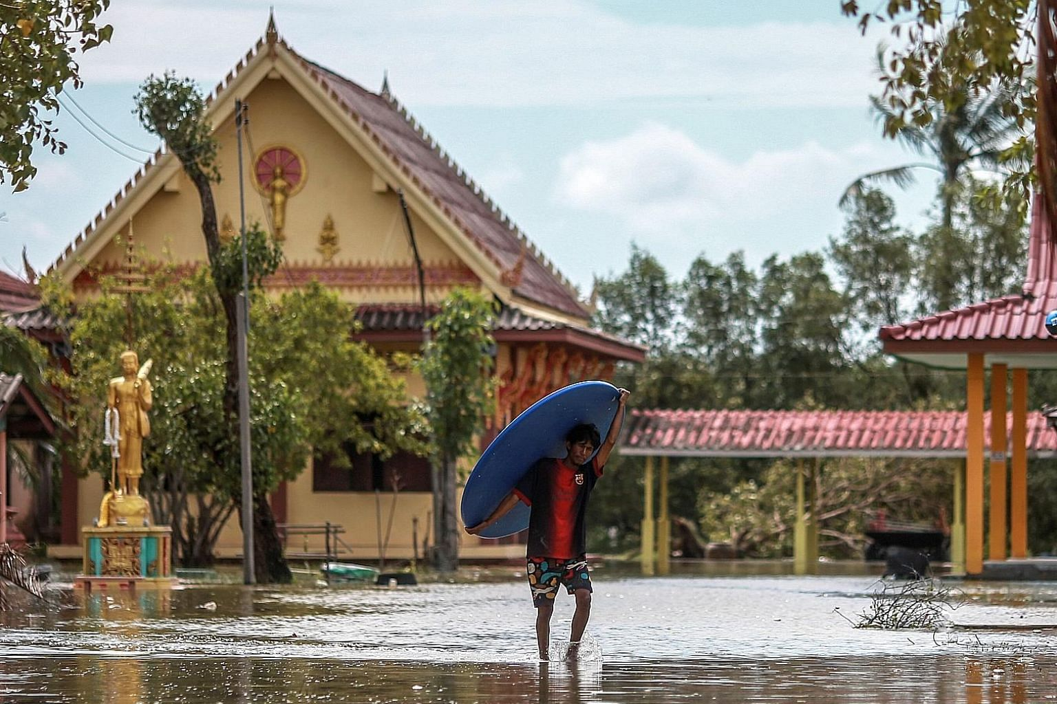 Evacuees returned home to find their belongings soaked by flash floods. Pabuk made landfall last Friday afternoon in Nakhon Si Thammarat's Pak Phanang district by the Gulf of Thailand, with 75kmh winds tearing off rooftops.
