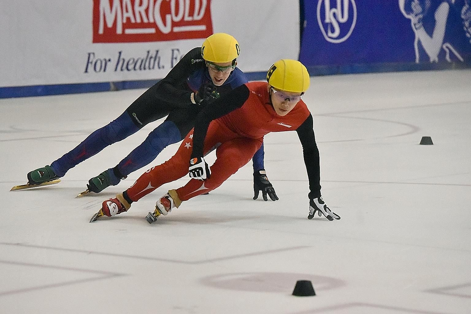 Singapore's Lucas Ng staying ahead of Australian Luke Cullen to win the SEA Open Short Track Trophy men's 500m, after the positions were reversed in the 1,500m.